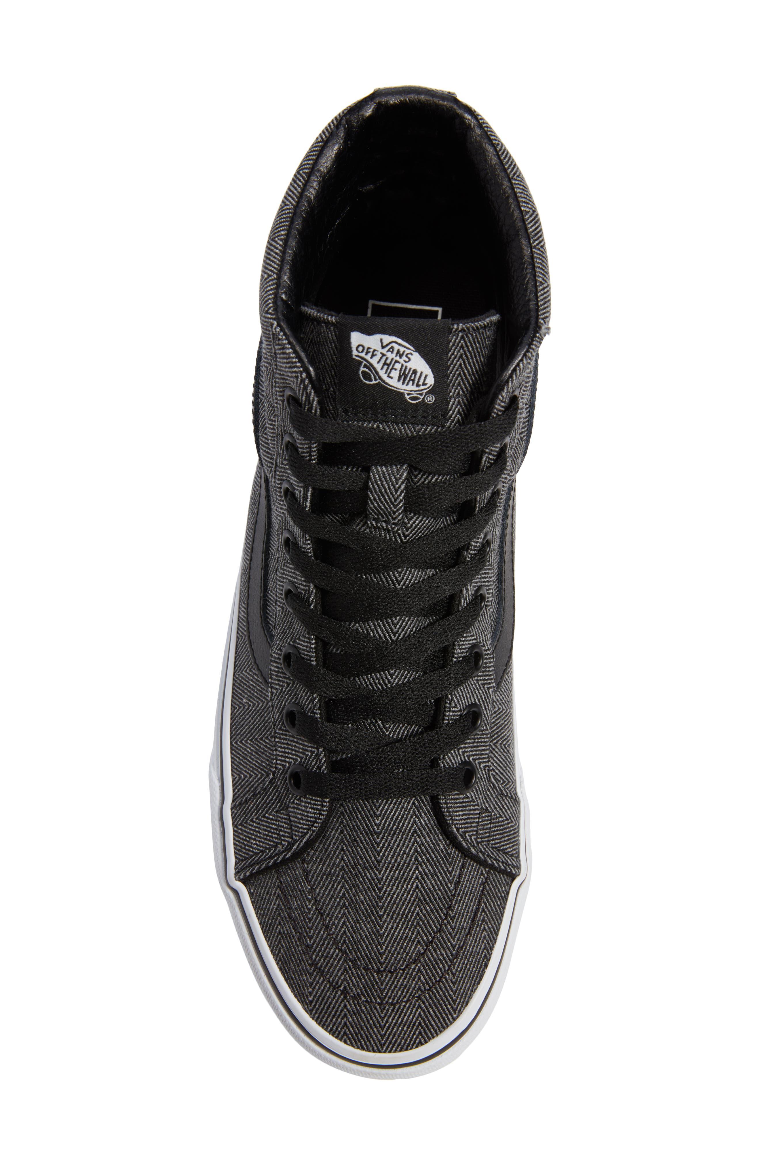 SK8-Hi Reissue High Top Sneaker,                             Alternate thumbnail 5, color,                             BLACK/ TRUE WHITE