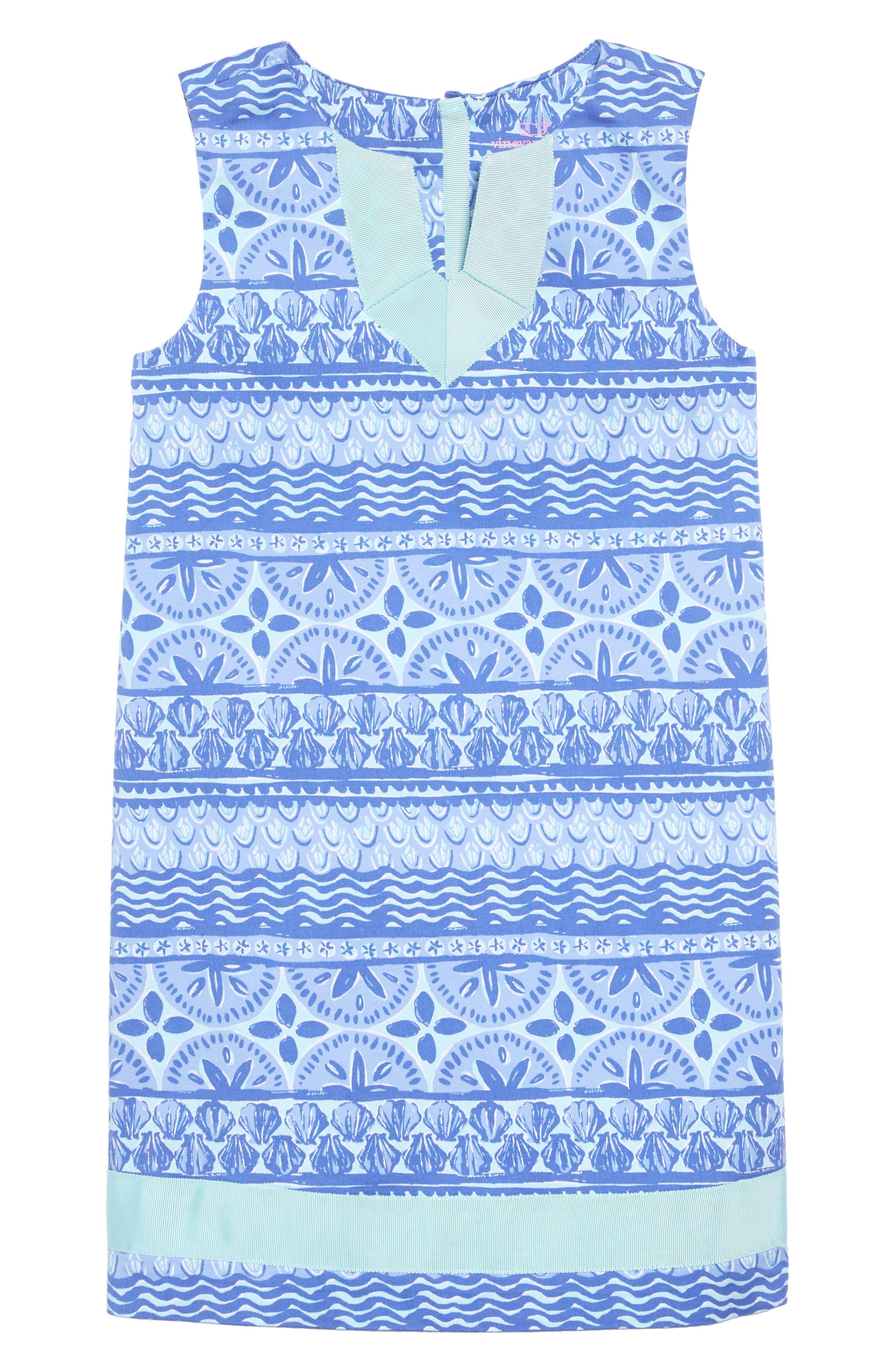 Shell Print Dress,                             Main thumbnail 1, color,                             CRYSTAL BLUE