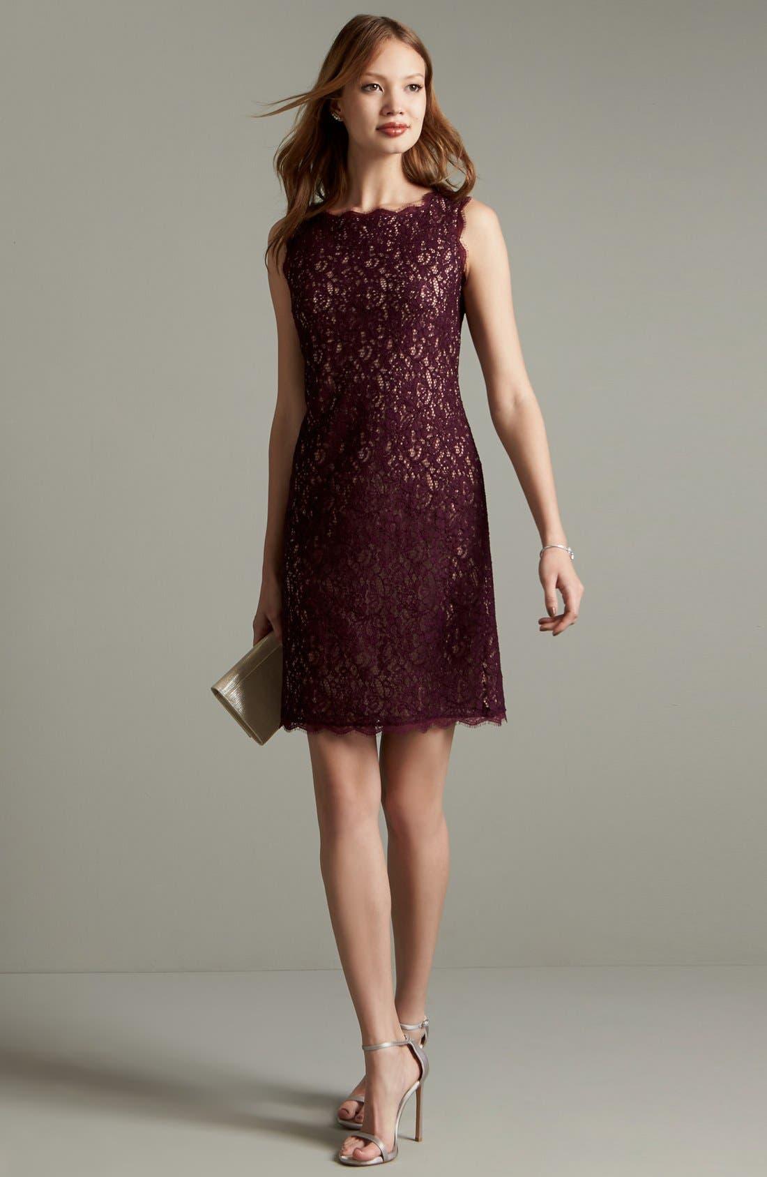 Boatneck Lace Sheath Dress,                             Alternate thumbnail 84, color,