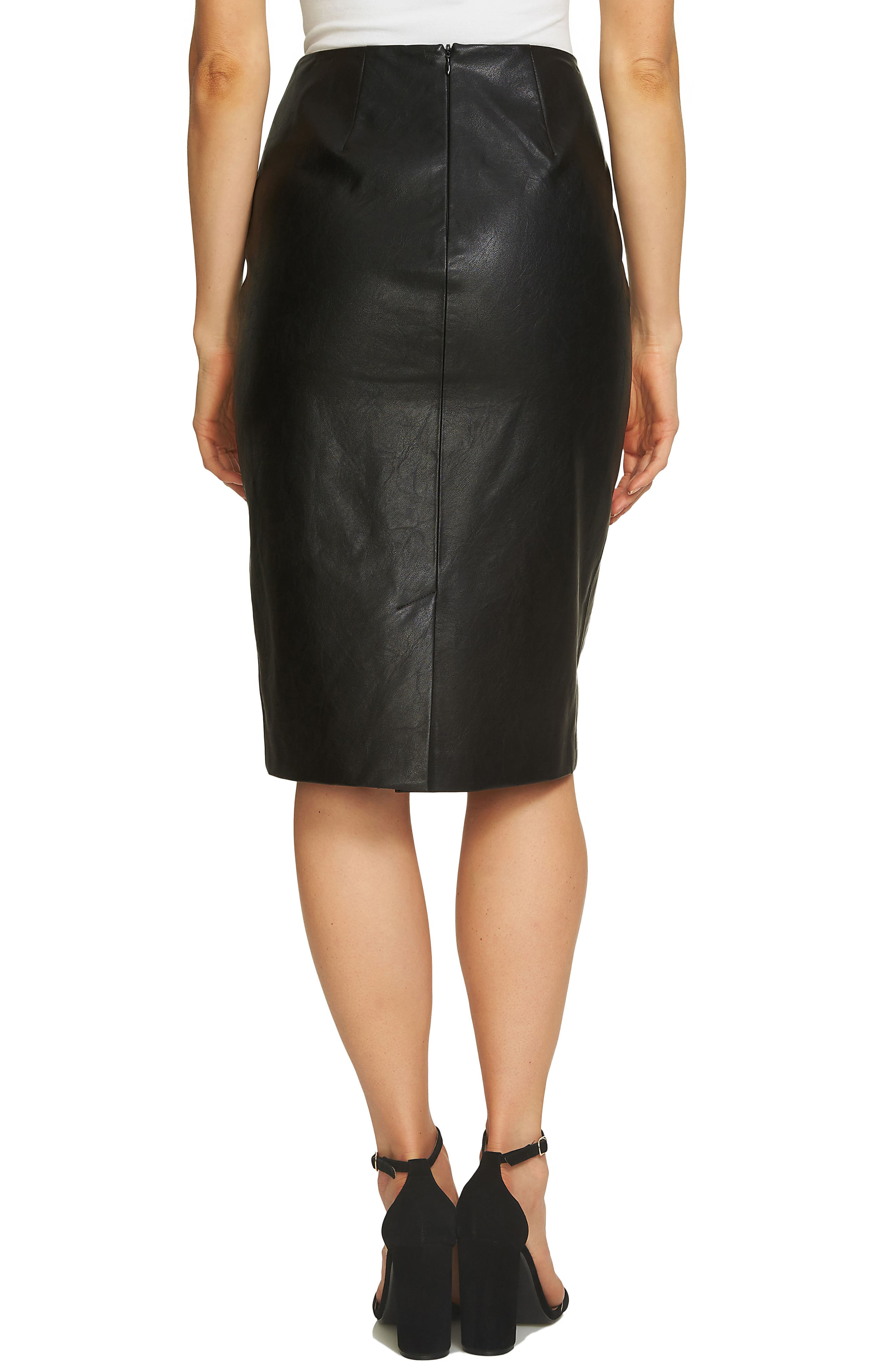Faux Leather Pencil Skirt,                             Alternate thumbnail 2, color,                             010