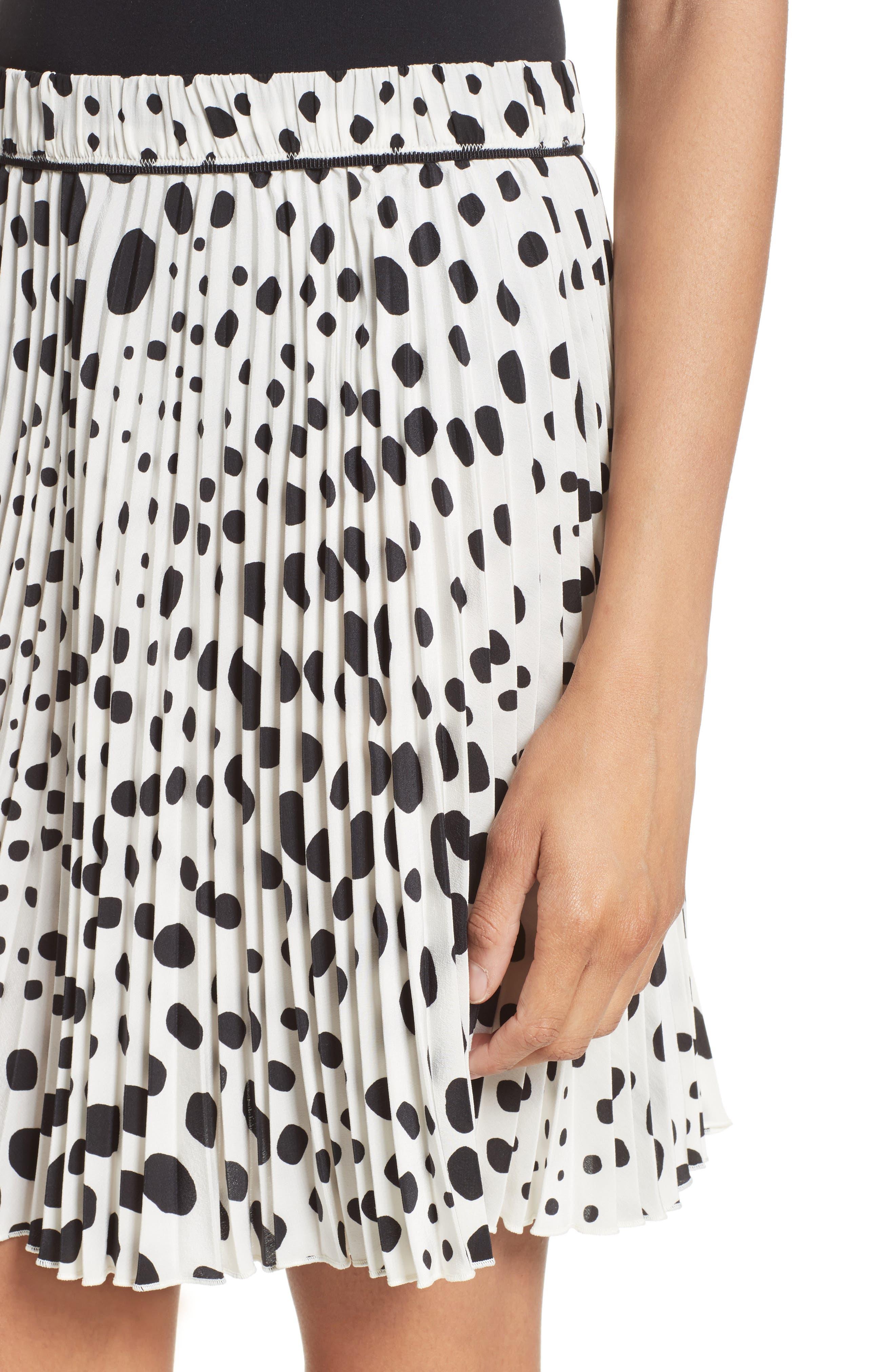 Pleated Polka Dot Silk Skirt,                             Alternate thumbnail 4, color,                             160