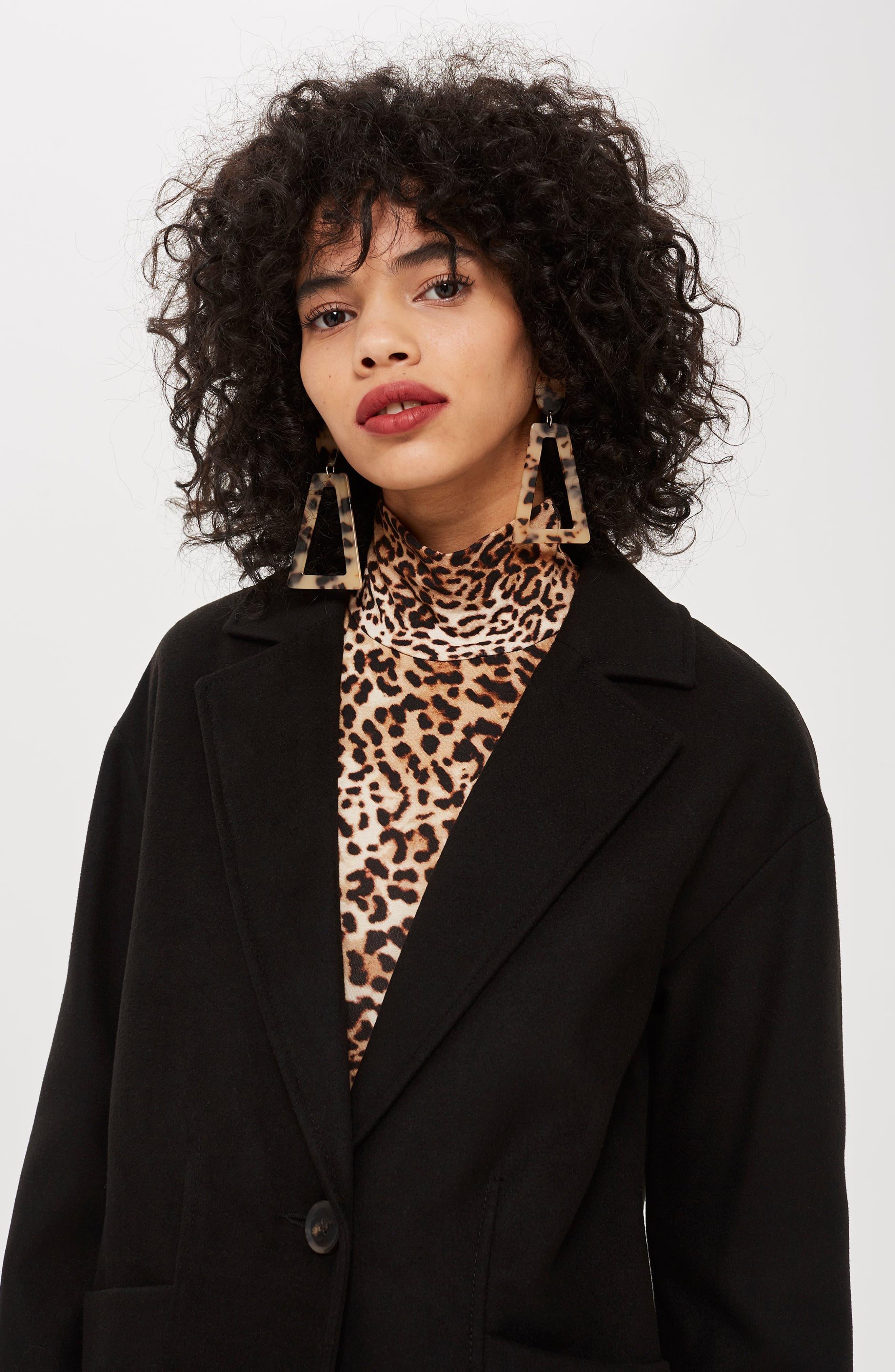 Marla Slouch Coat,                             Alternate thumbnail 6, color,                             BLACK