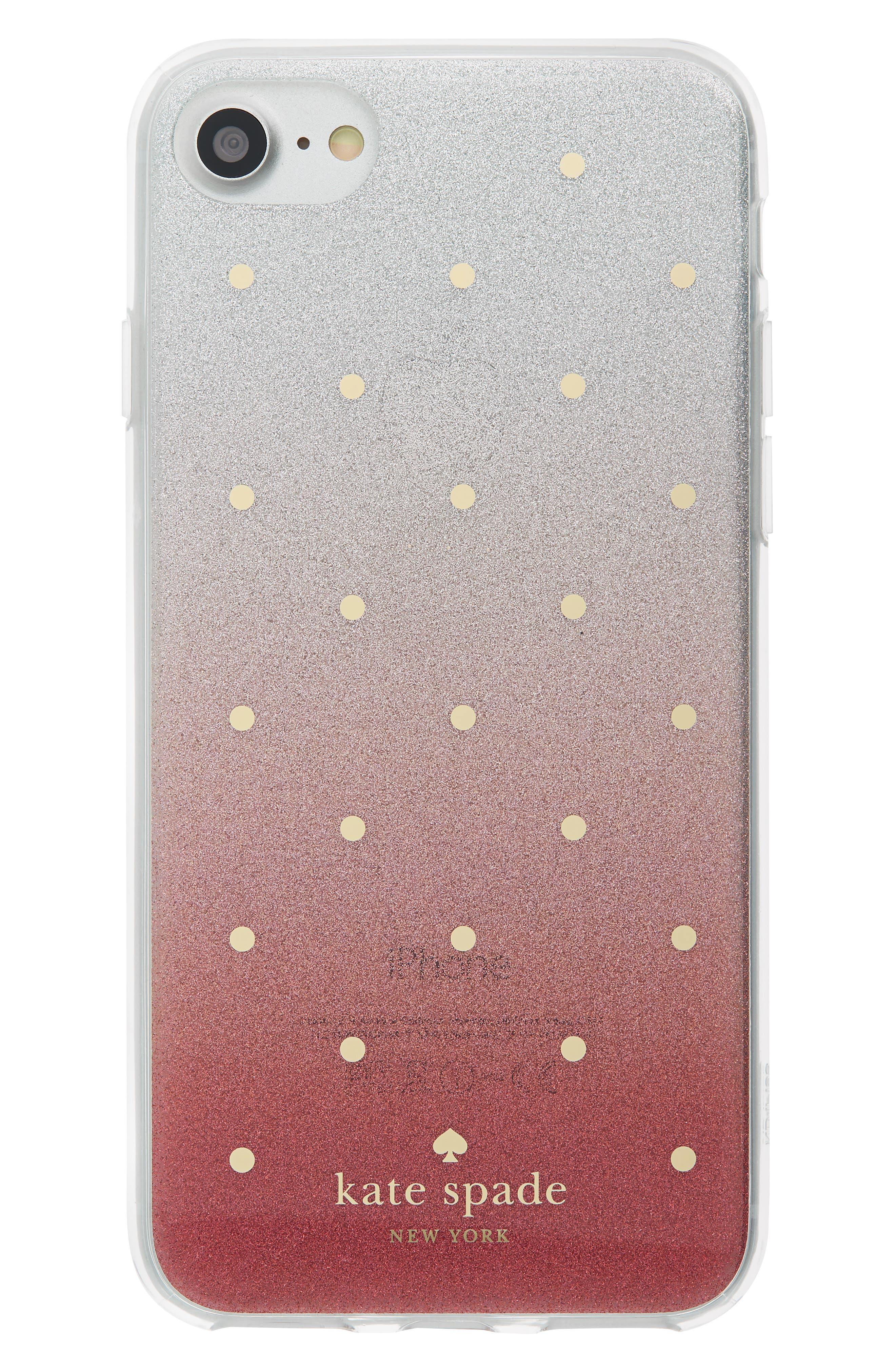 glitter ombré iPhone 7/8 & 7/8 Plus case,                             Main thumbnail 1, color,                             PINK MULTI