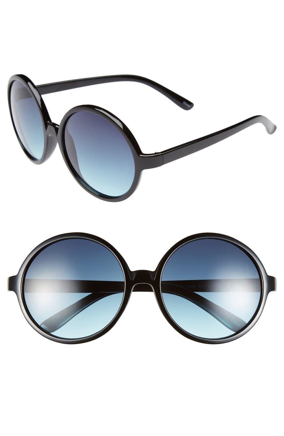 58mm Round Sunglasses,                         Main,                         color, 001