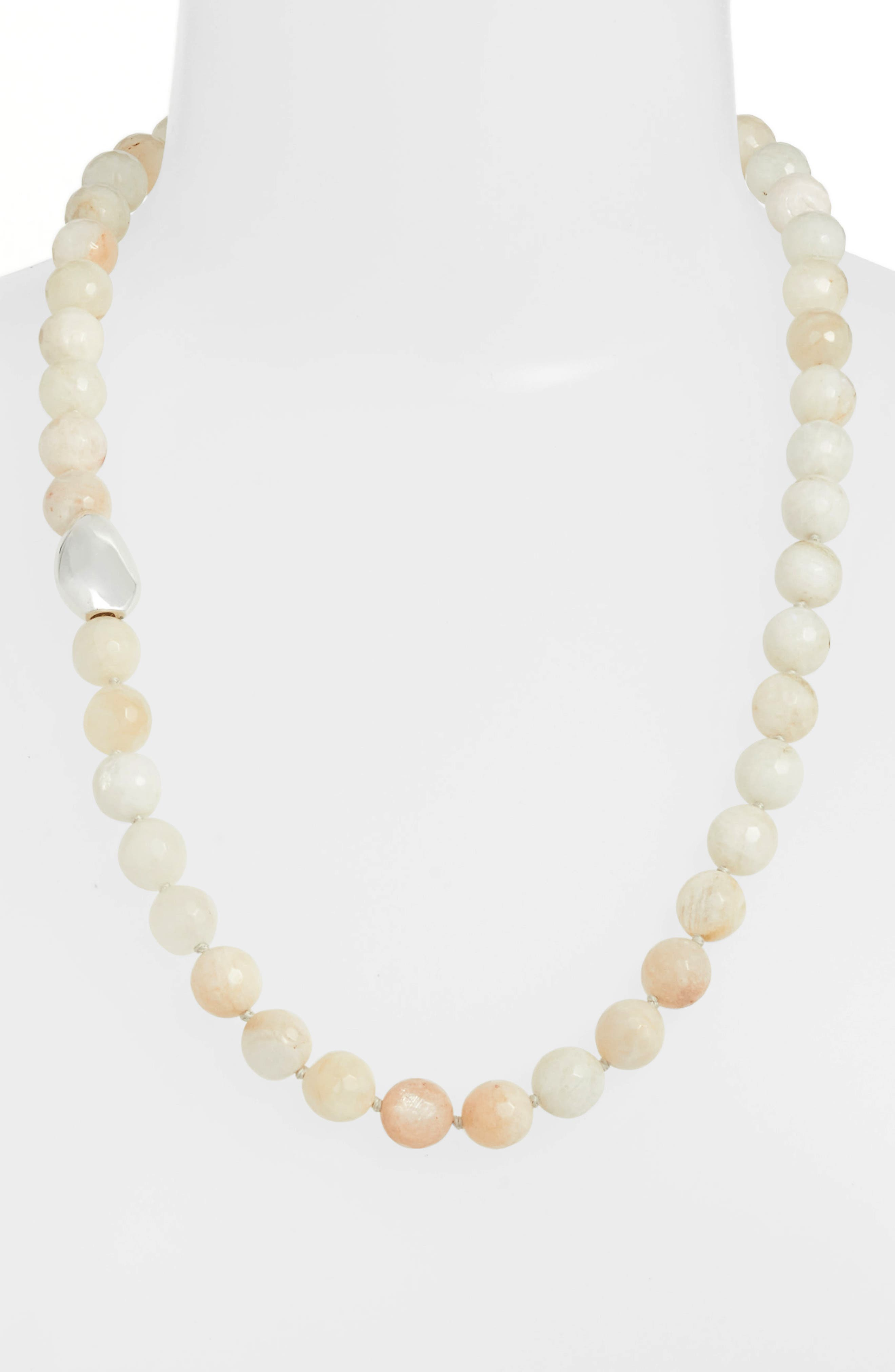 White Moonstone Necklace,                         Main,                         color, WHITE W/ SILVER