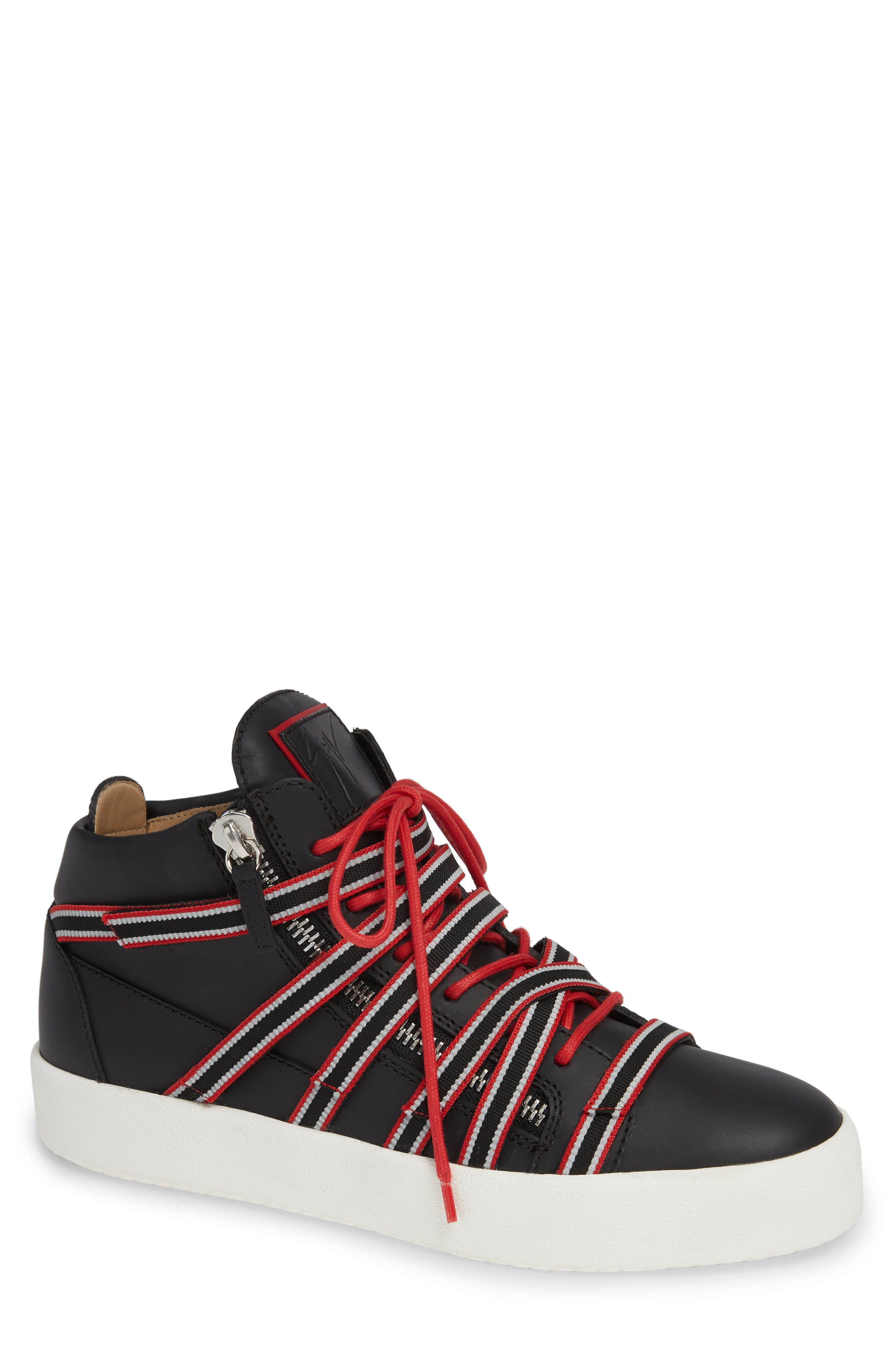 Multistrap Mid Top Sneaker,                             Main thumbnail 1, color,                             BLACK/ BLACK