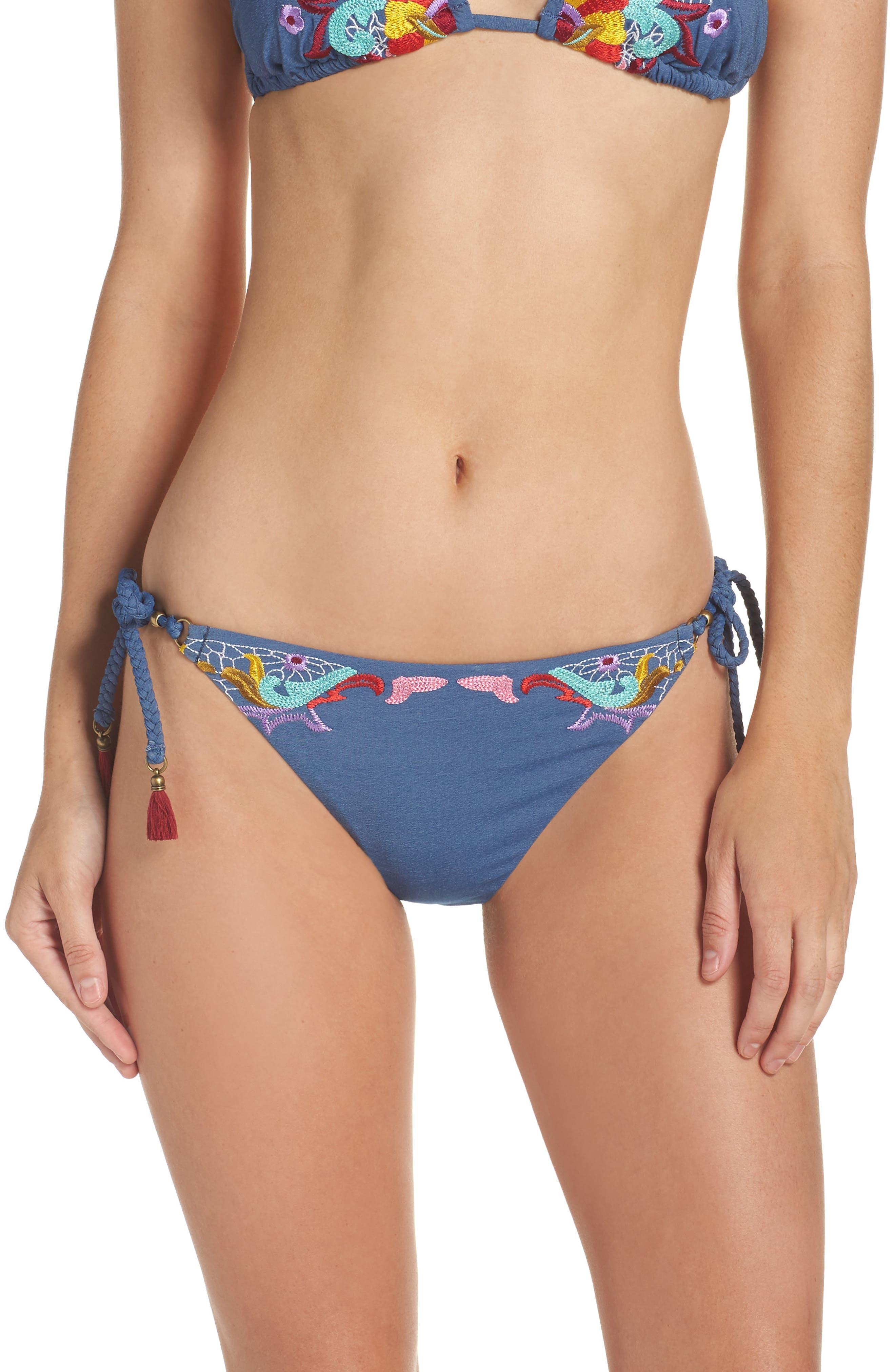 Dazed Denim Vamp Side Tie Bikini Bottoms,                             Main thumbnail 1, color,                             400