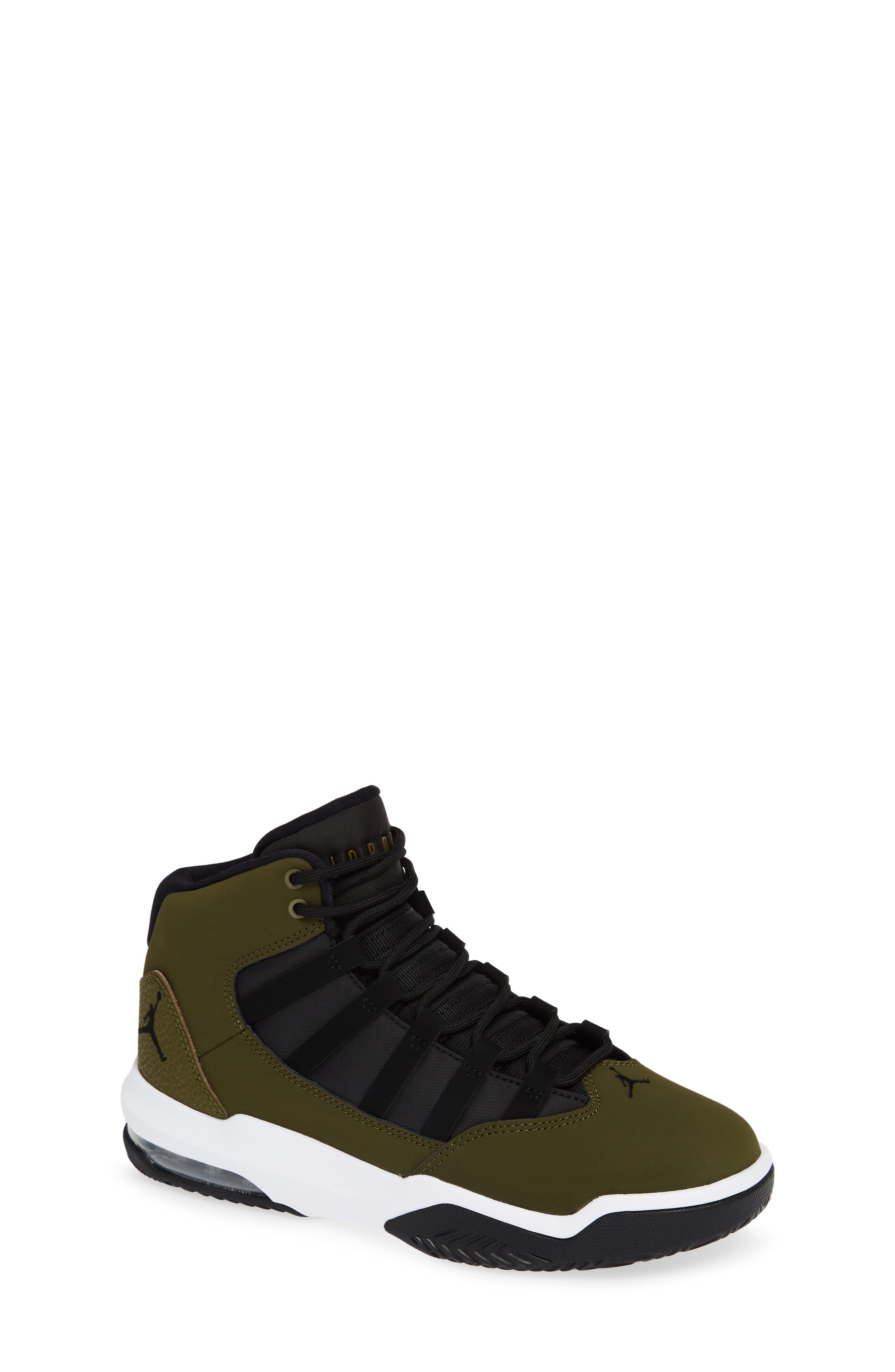 Jordan Max Aura Basketball Shoe,                             Main thumbnail 1, color,                             OLIVE CANVAS/ BLACK/ WHITE