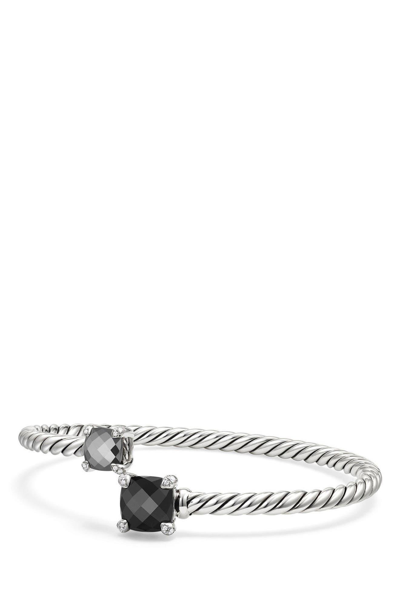 Chatelaine Bypass Bracelet with Diamonds,                             Main thumbnail 1, color,                             BLACK ONYX