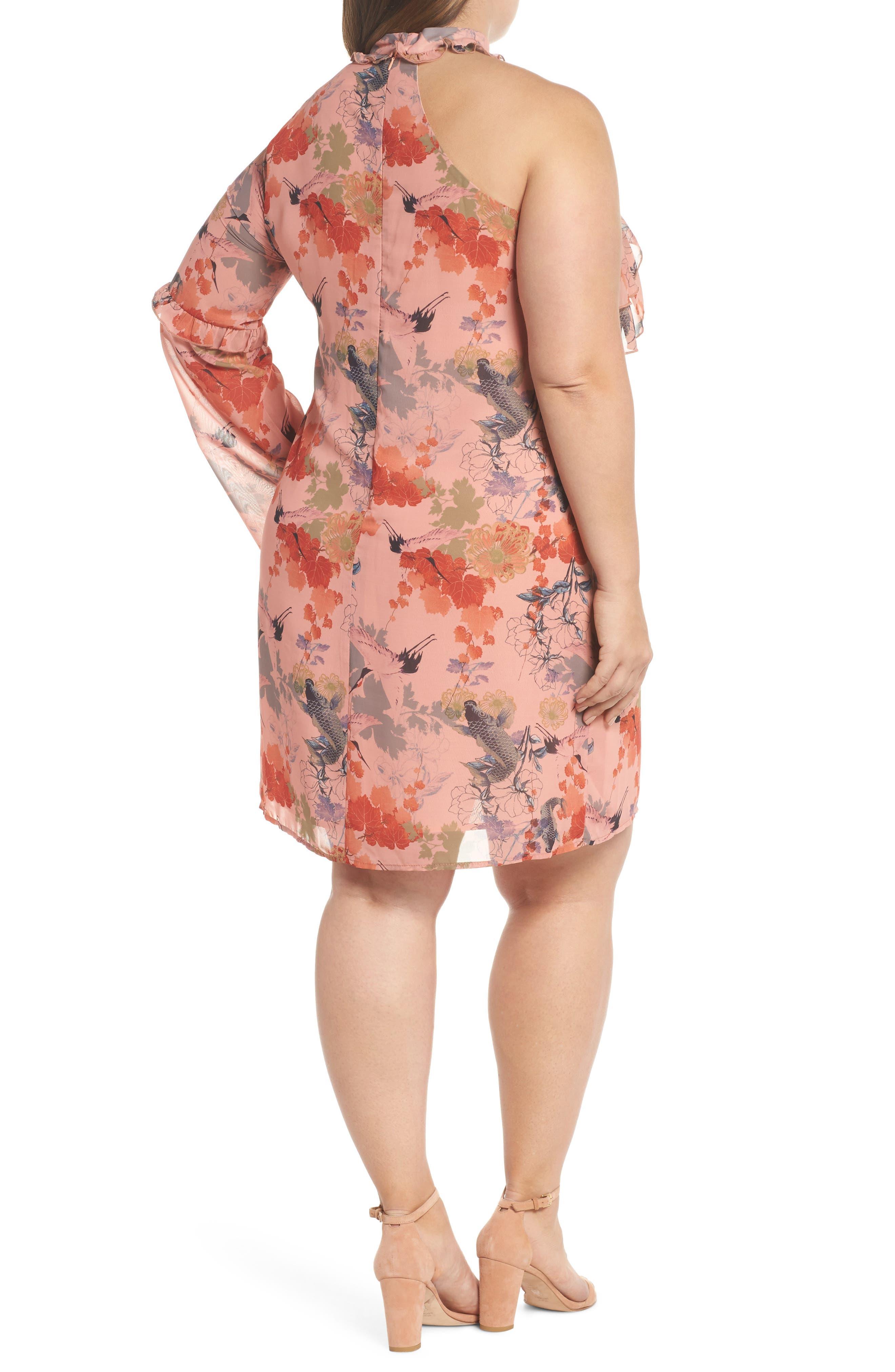 Choker One-Shoulder Dress,                             Alternate thumbnail 2, color,
