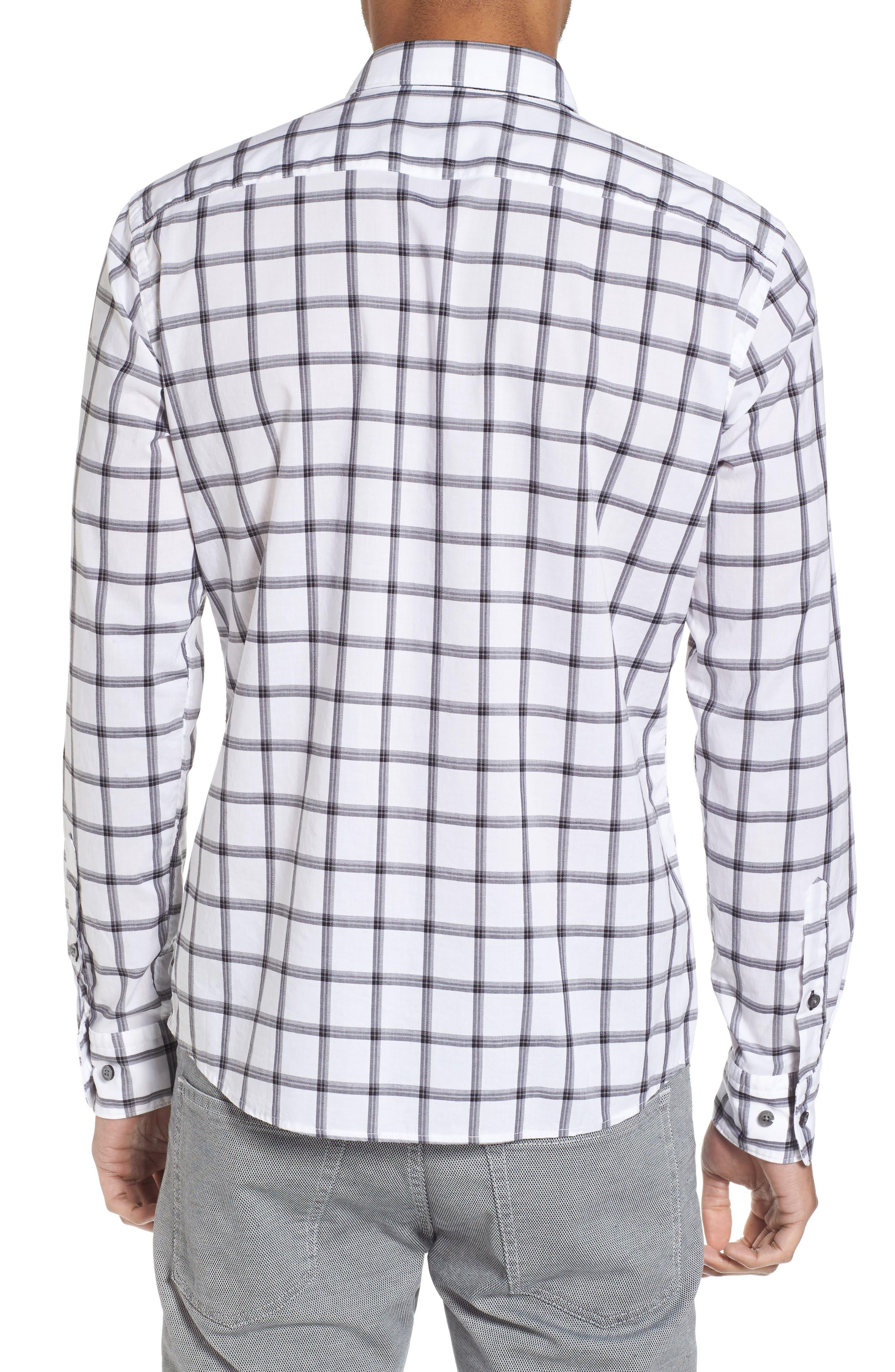 Reid Slim Fit Windowpane Sport Shirt,                             Alternate thumbnail 2, color,                             001