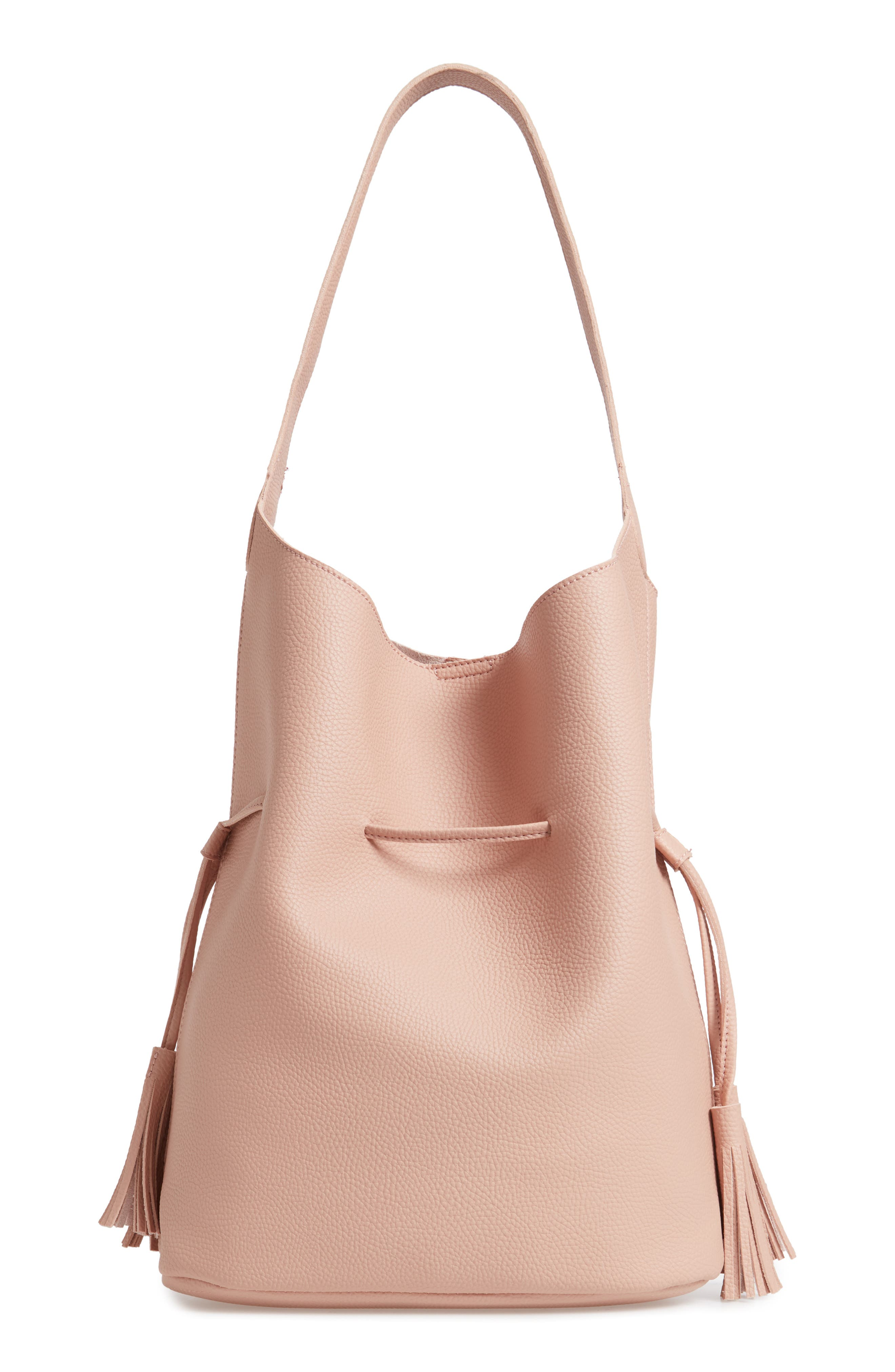 STREET LEVEL Drawstring Faux Leather Bucket Bag - Pink in Blush