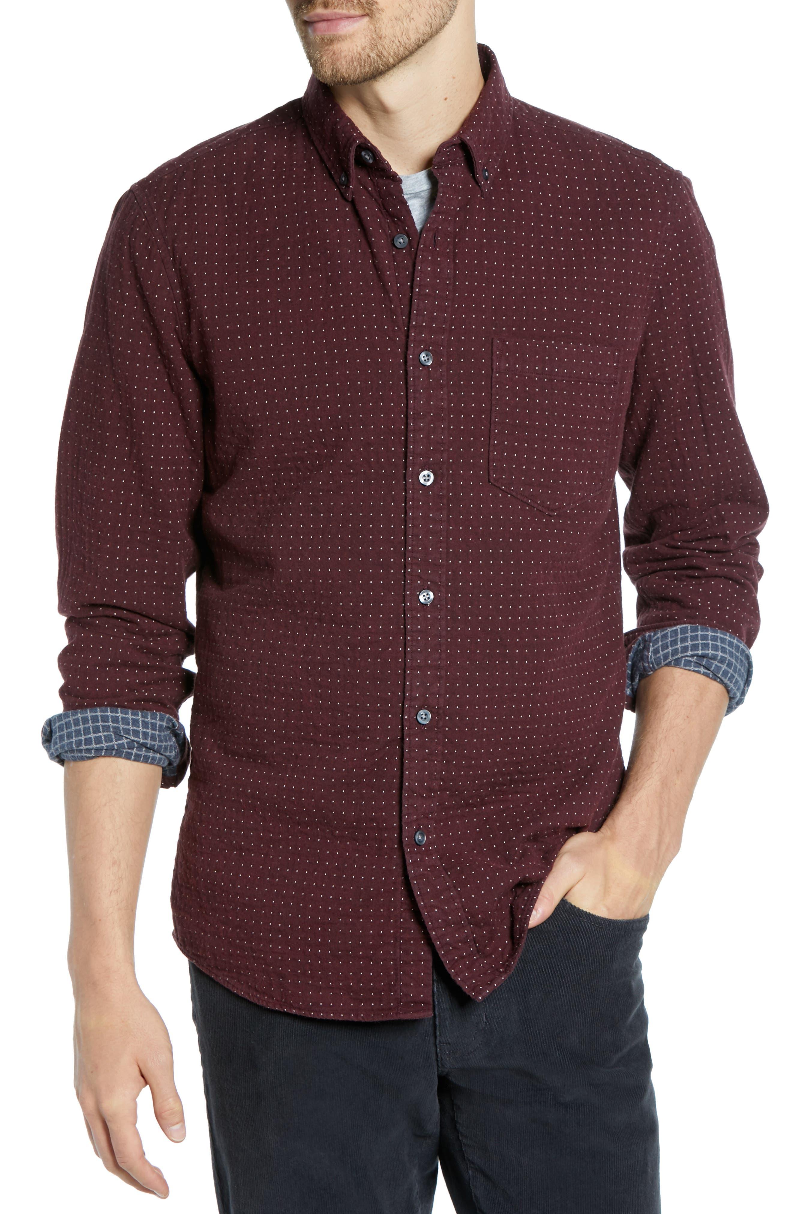Trim Fit Dot Flannel Sport Shirt,                         Main,                         color, BURGUNDY ROYALE GREY DUOFOLD