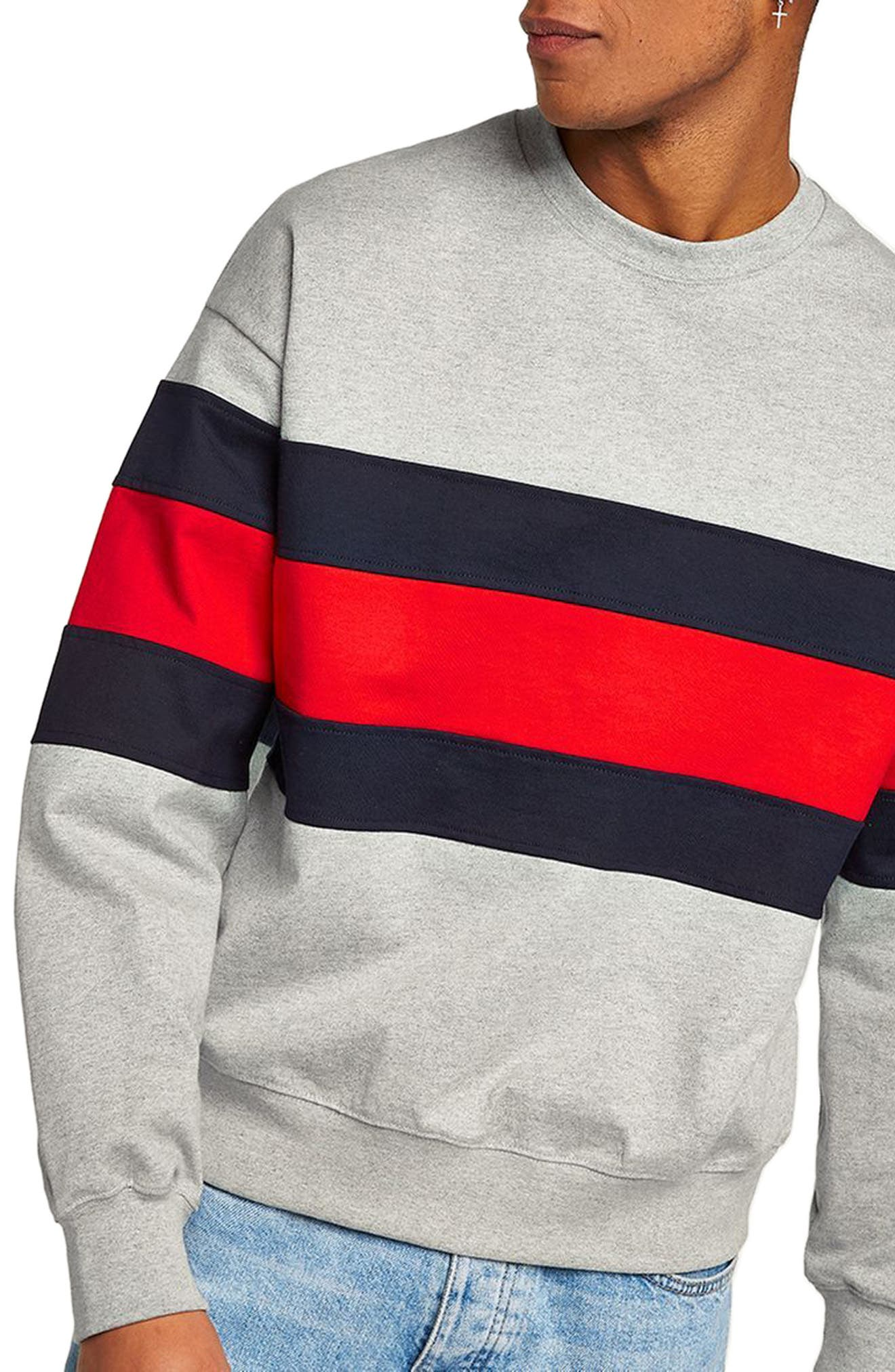Classic Fit Striped Sweatshirt,                             Main thumbnail 1, color,                             LIGHT GREY MULTI