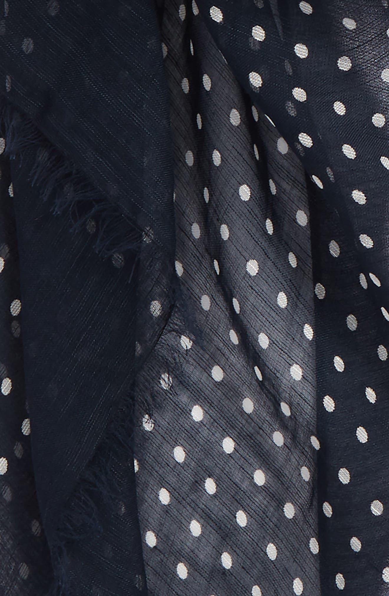 Drakes Polka Dot Linen Scarf,                             Alternate thumbnail 3, color,                             411