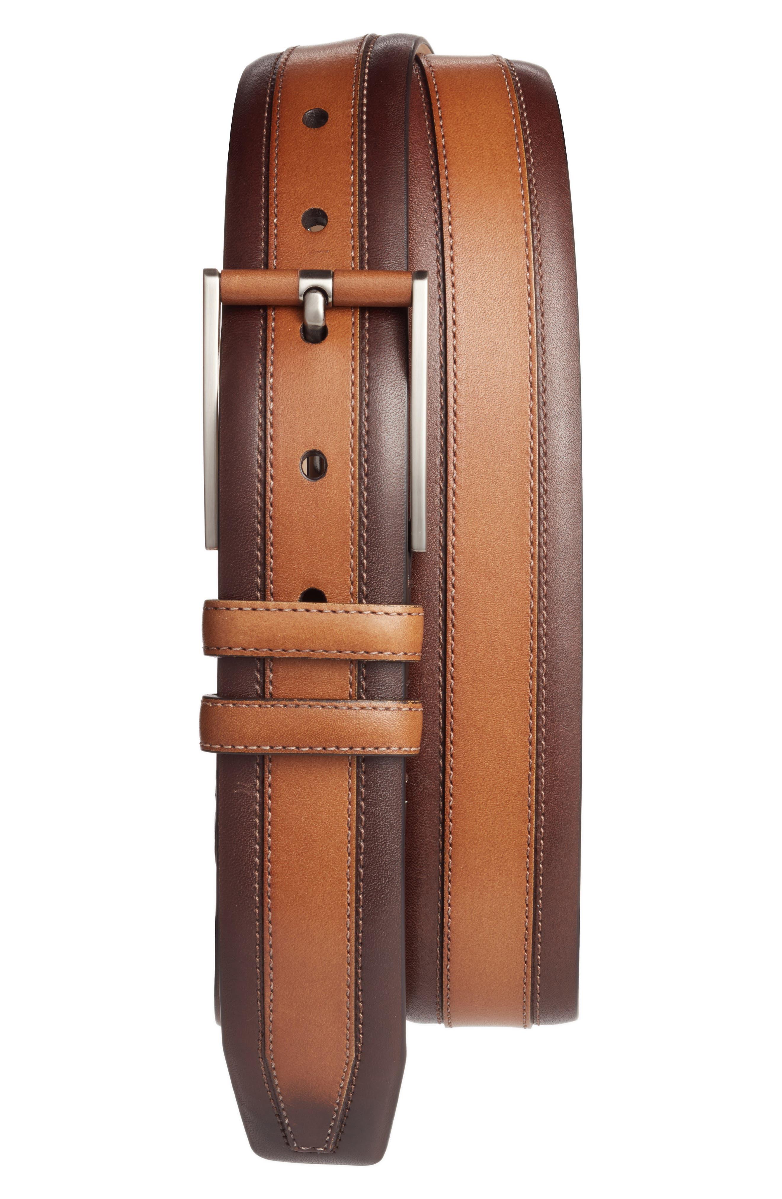 Leather Belt,                         Main,                         color, TAN/ DARK BROWN