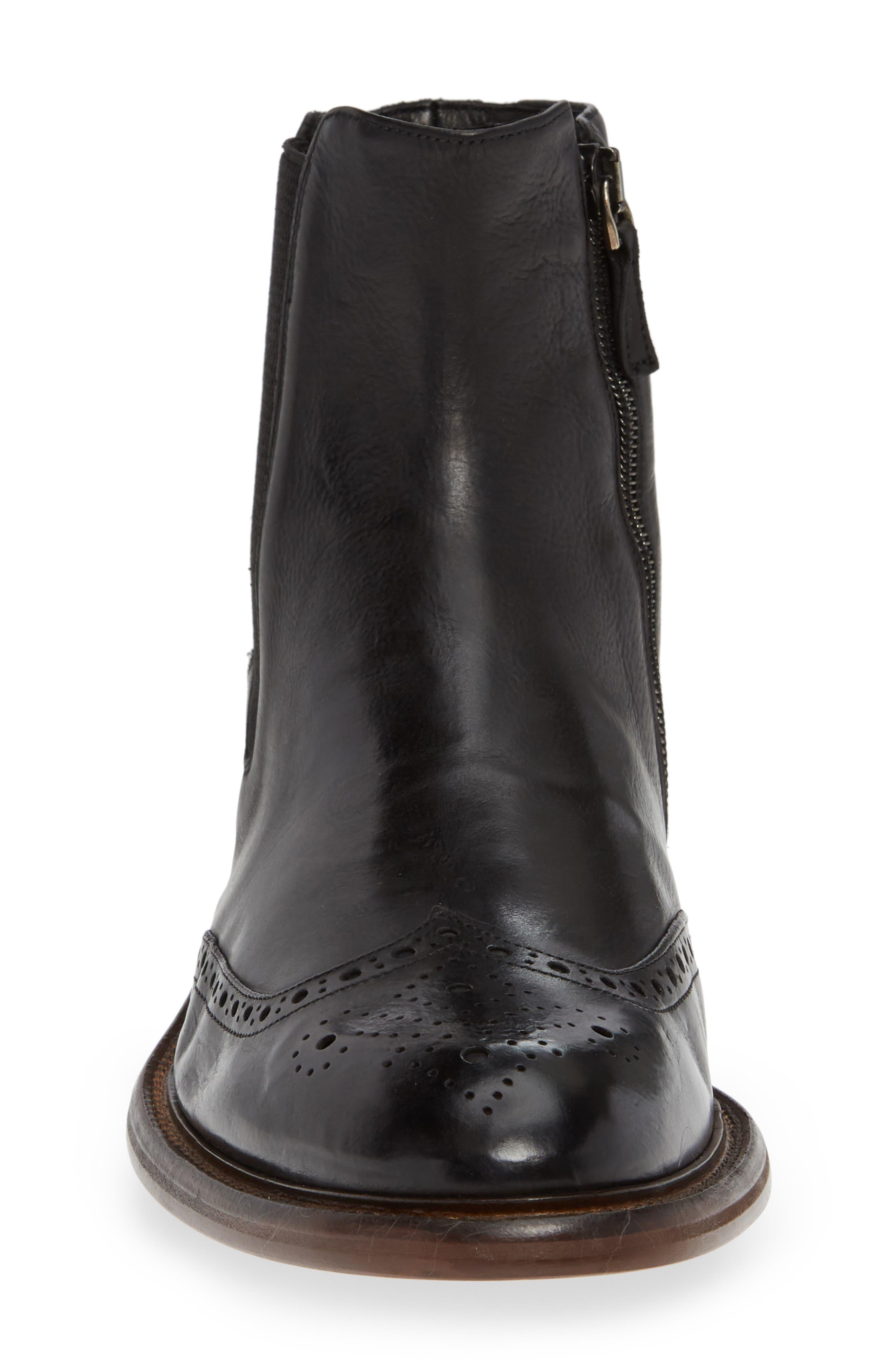 Bryson Wingtip Chelsea Boot,                             Alternate thumbnail 4, color,                             BLACK LEATHER
