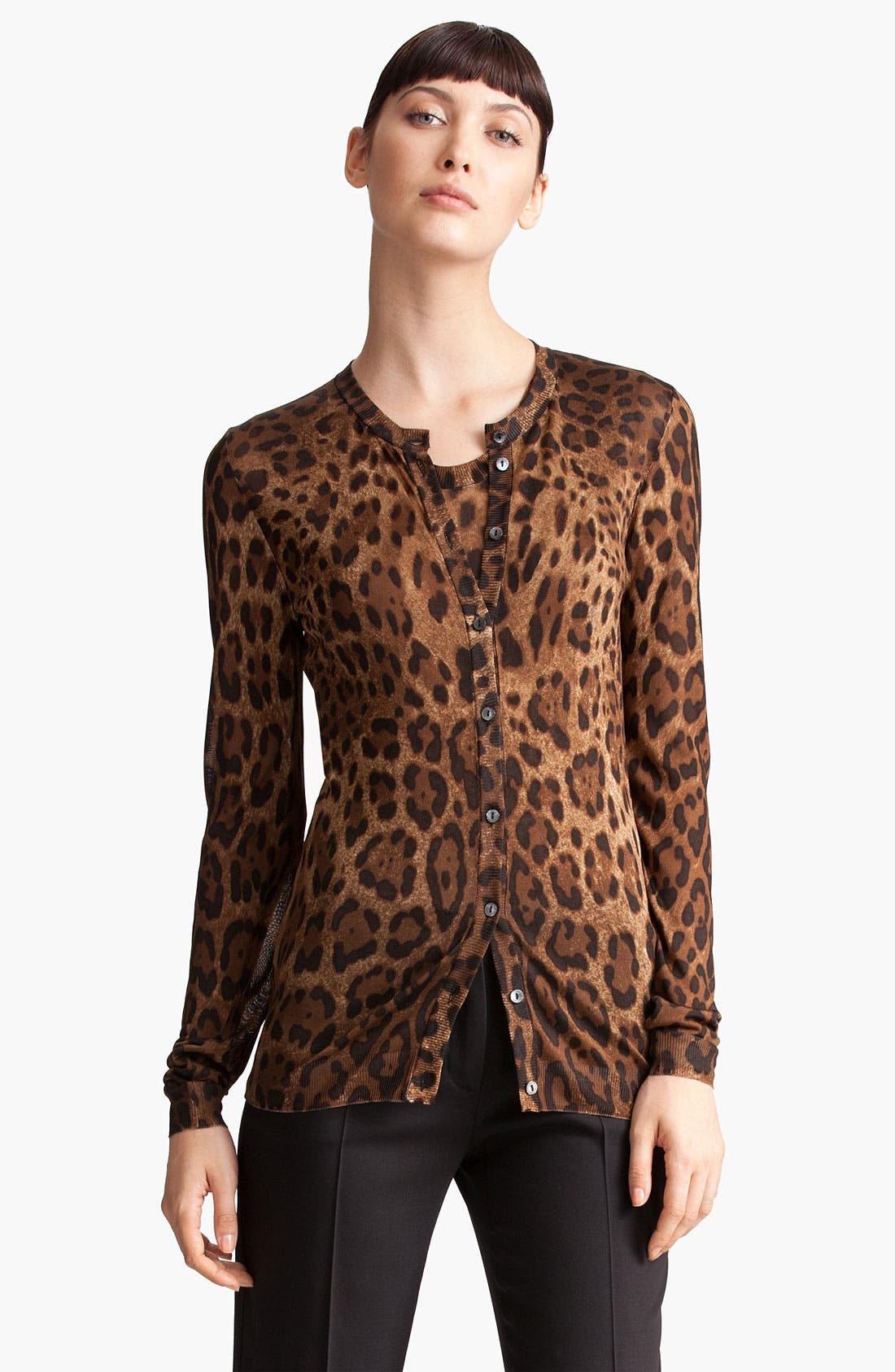 Leopard Print Cardigan,                             Main thumbnail 1, color,
