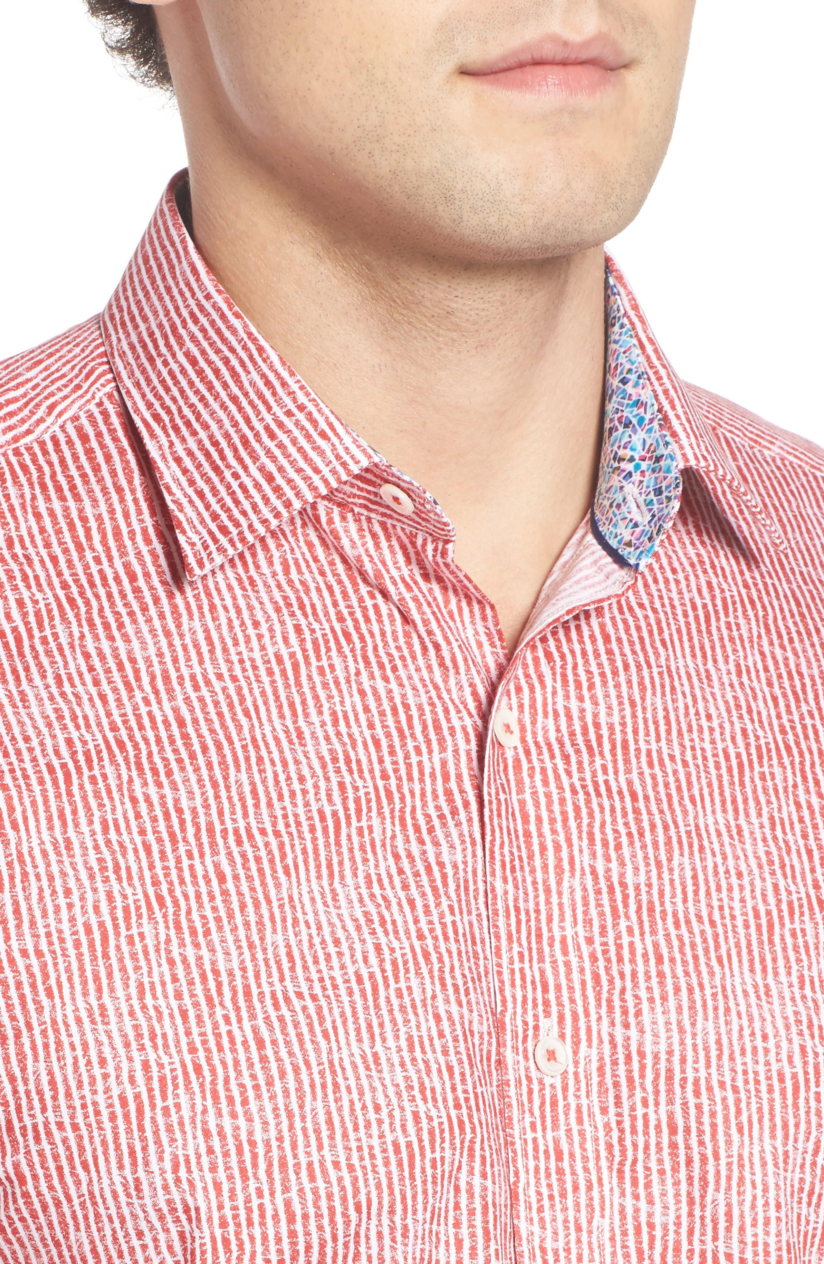 Shaped Fit Stripe Sport Shirt,                             Alternate thumbnail 31, color,
