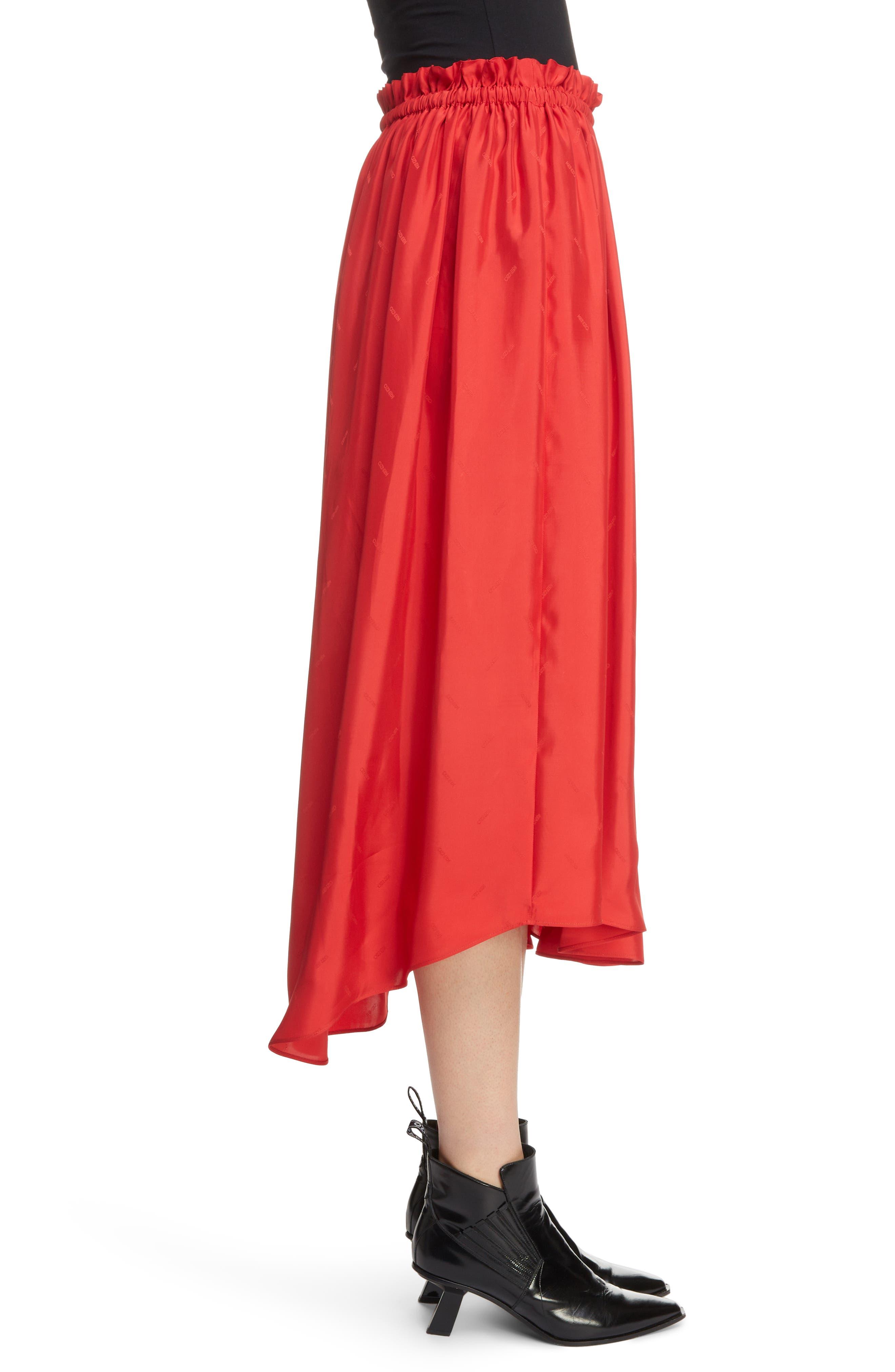Long Belted Skirt,                             Alternate thumbnail 3, color,                             VISCOSE/ MEDIUM RED