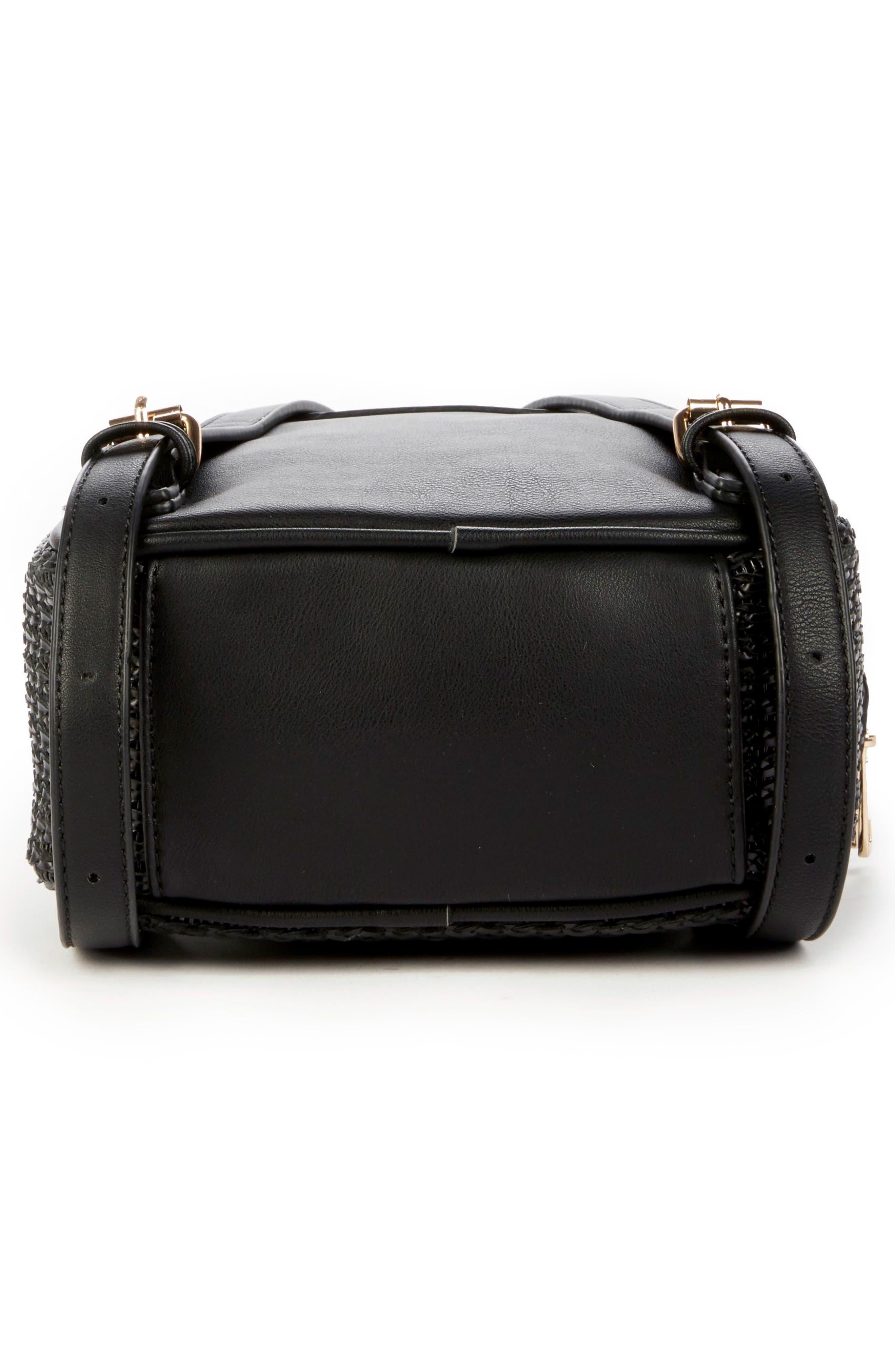 Nikole Faux Leather Backpack,                             Alternate thumbnail 6, color,                             BLACK