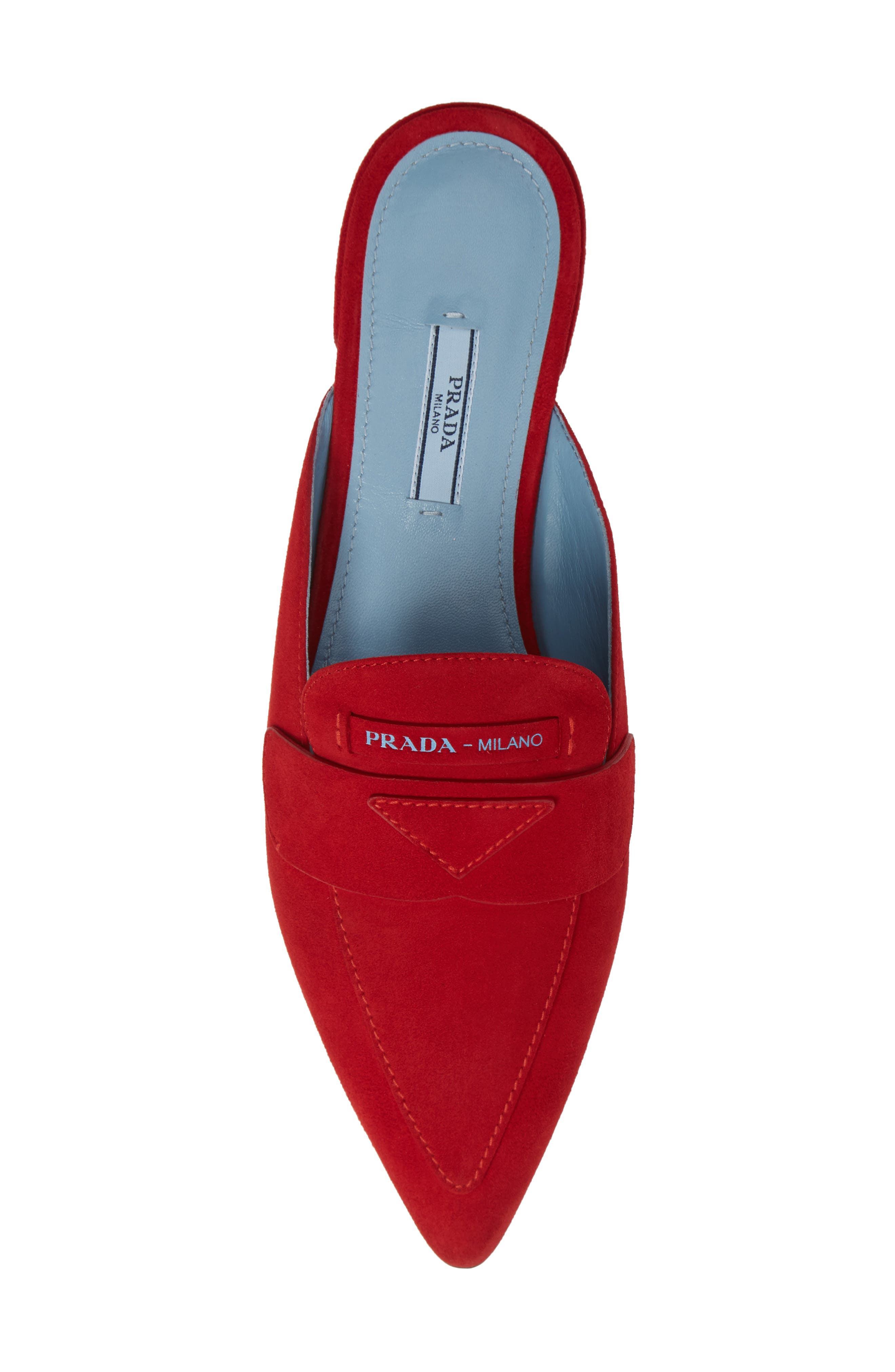 Logo Pointy Toe Loafer Mule,                             Alternate thumbnail 5, color,                             RED