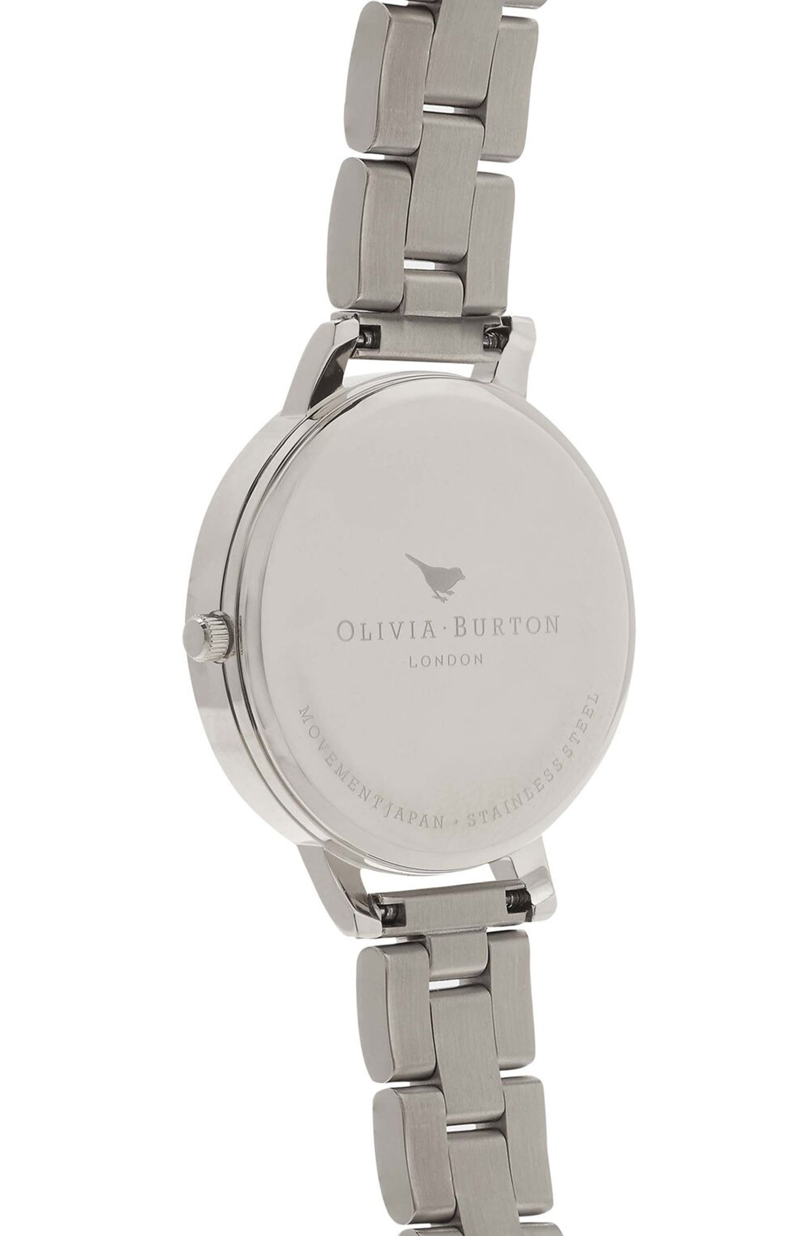 OLIVIA BURTON,                             Big Dial Bracelet Watch, 38mm,                             Alternate thumbnail 3, color,                             ROSE GOLD/ SILVER