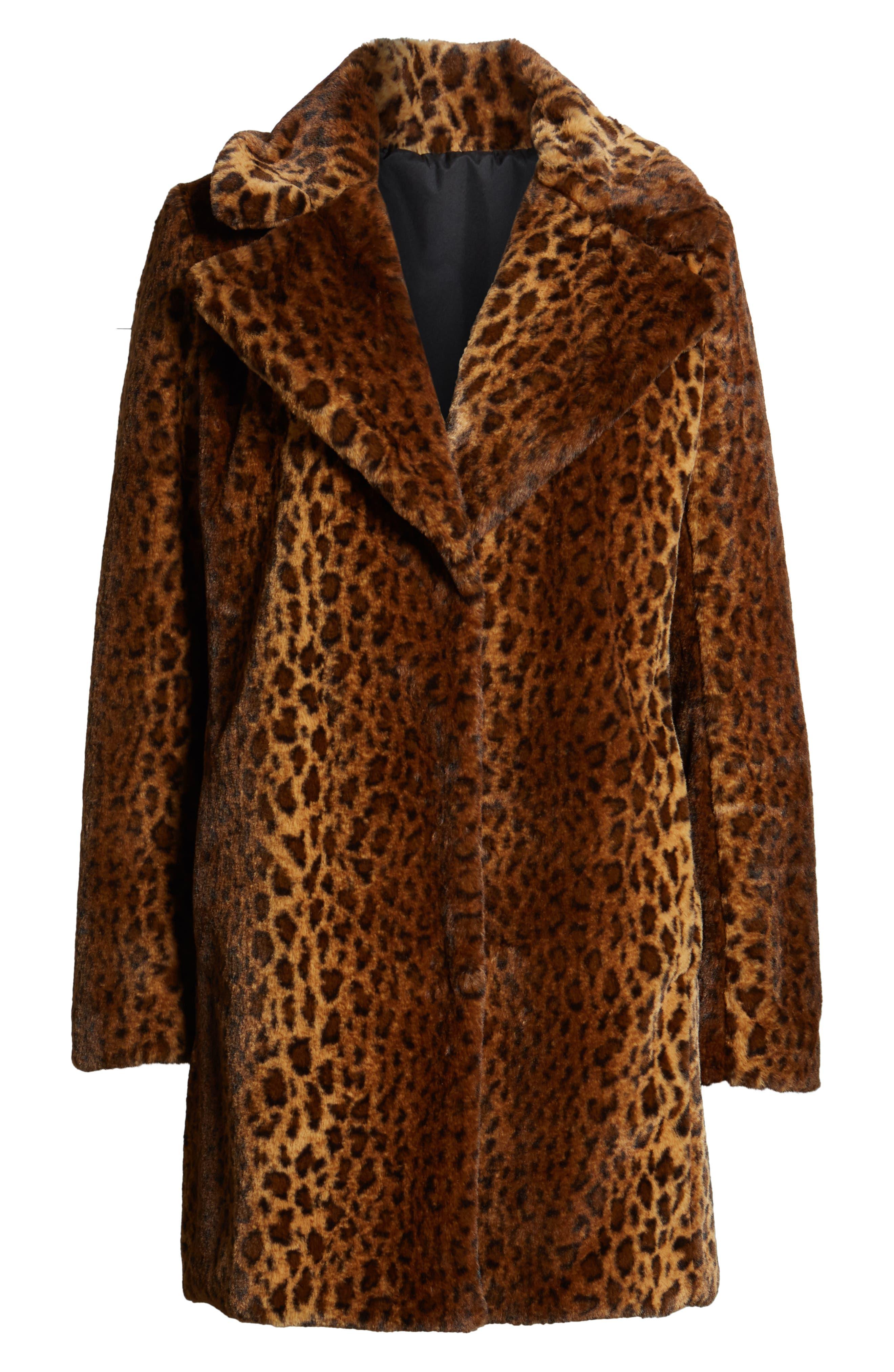 Faux Fur Leopard Print Coat,                             Alternate thumbnail 6, color,                             206
