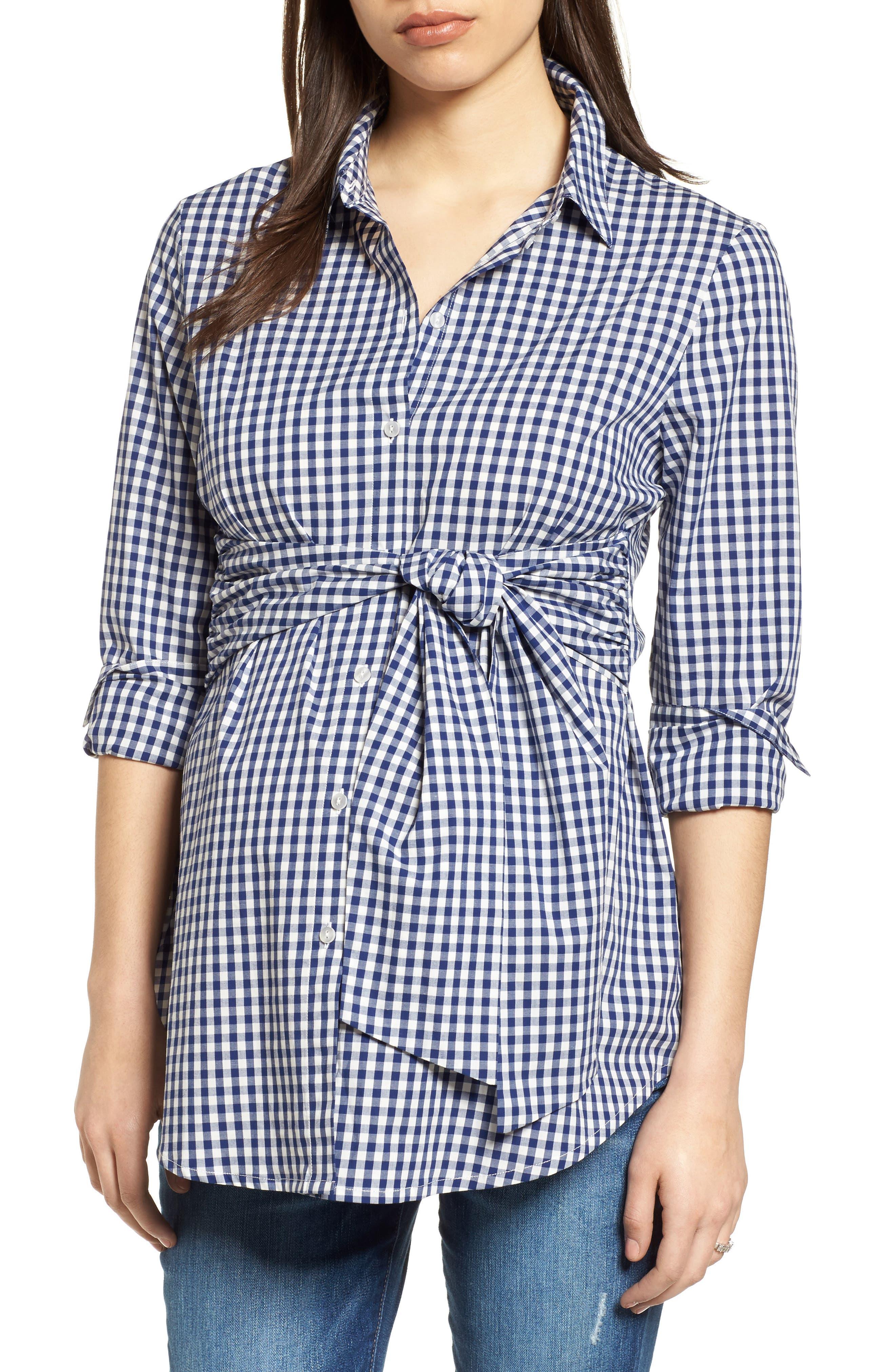 Lindsay Check Maternity Shirt,                             Main thumbnail 1, color,                             BLUE GINGHAM