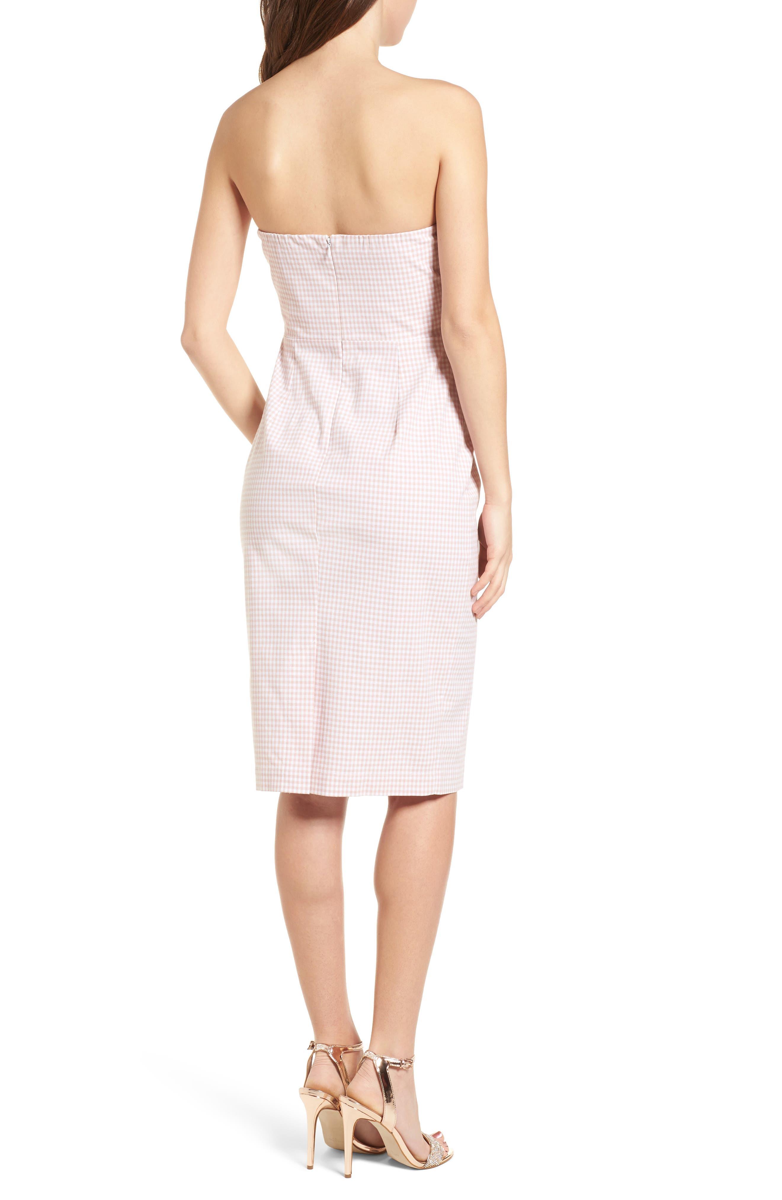 Strapless Gingham Dress,                             Alternate thumbnail 4, color,