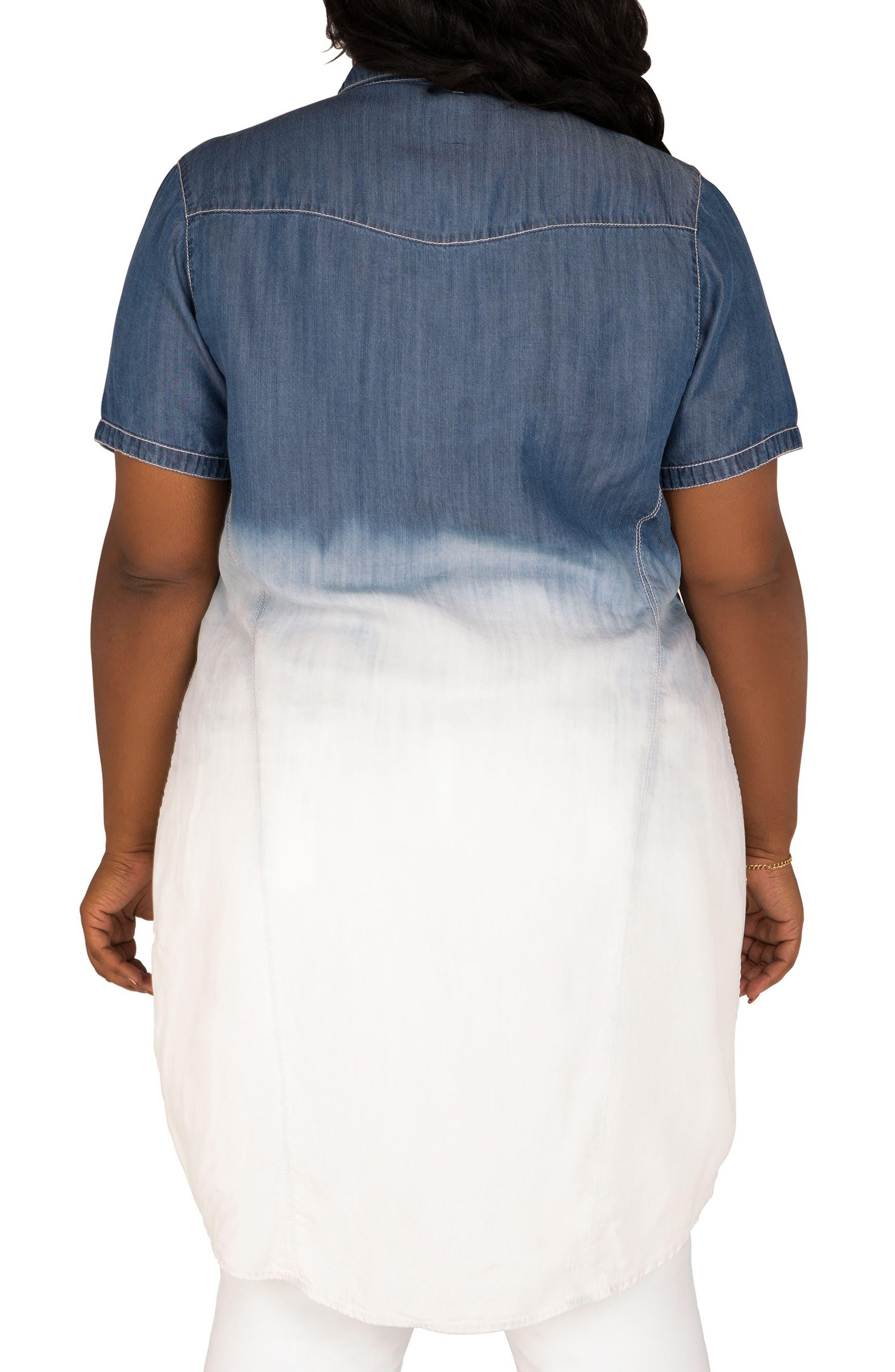 POETIC JUSTICE,                             Regina Ombré Denim Tunic Shirt,                             Alternate thumbnail 2, color,                             BLUE