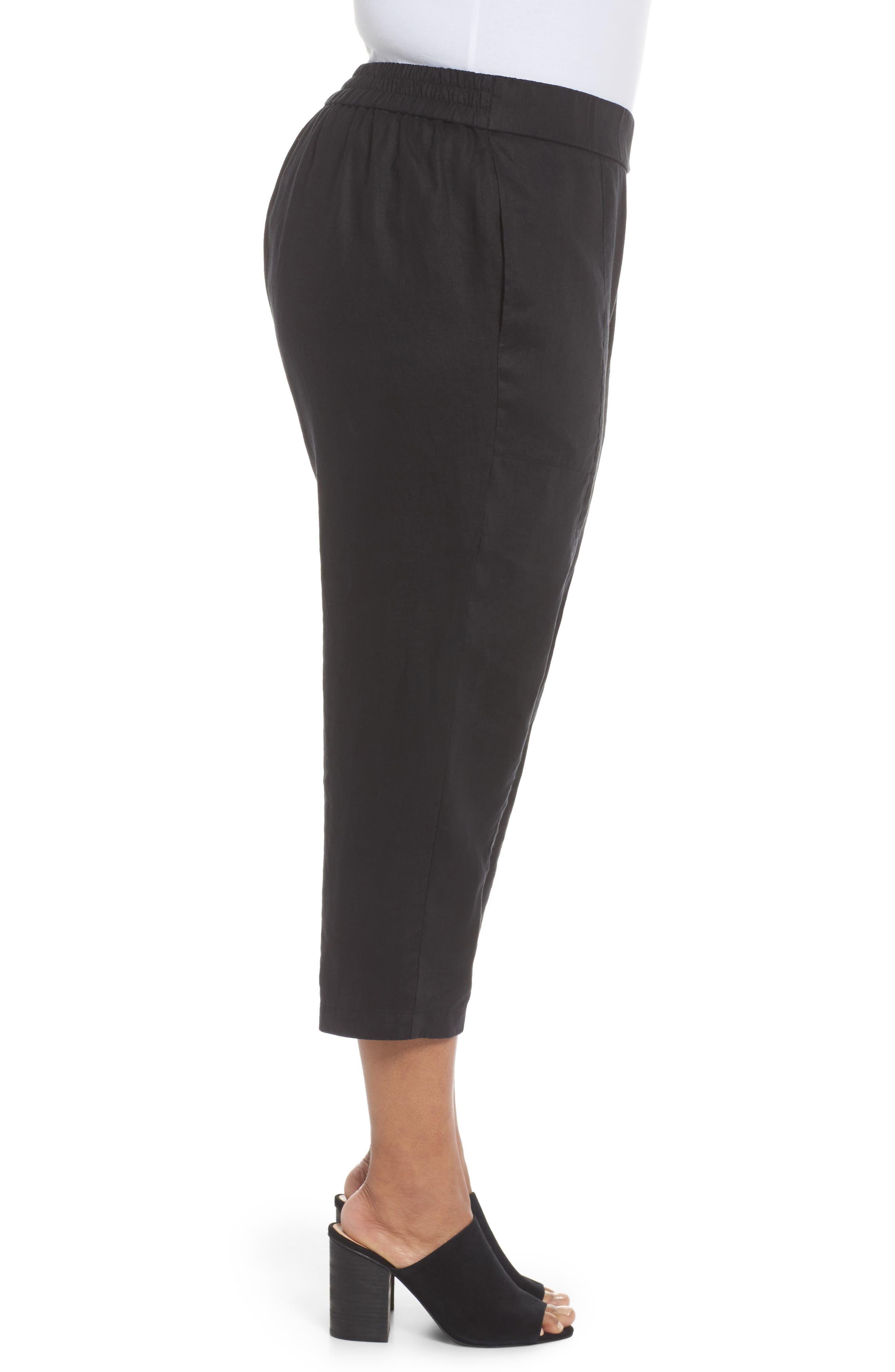 Linen Ankle Pants,                             Alternate thumbnail 3, color,                             BLACK