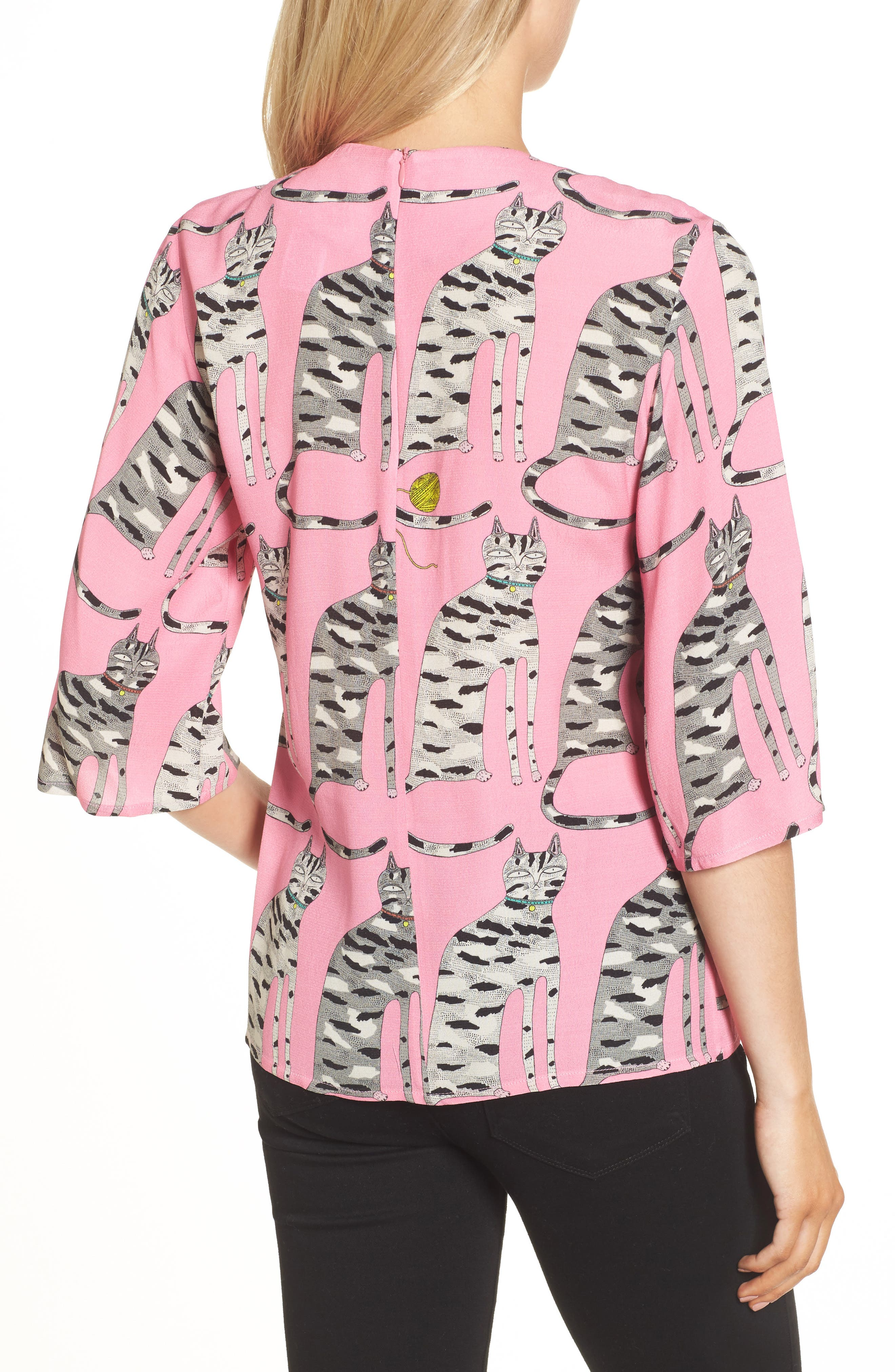 Cat Print Blouse,                             Alternate thumbnail 2, color,                             651