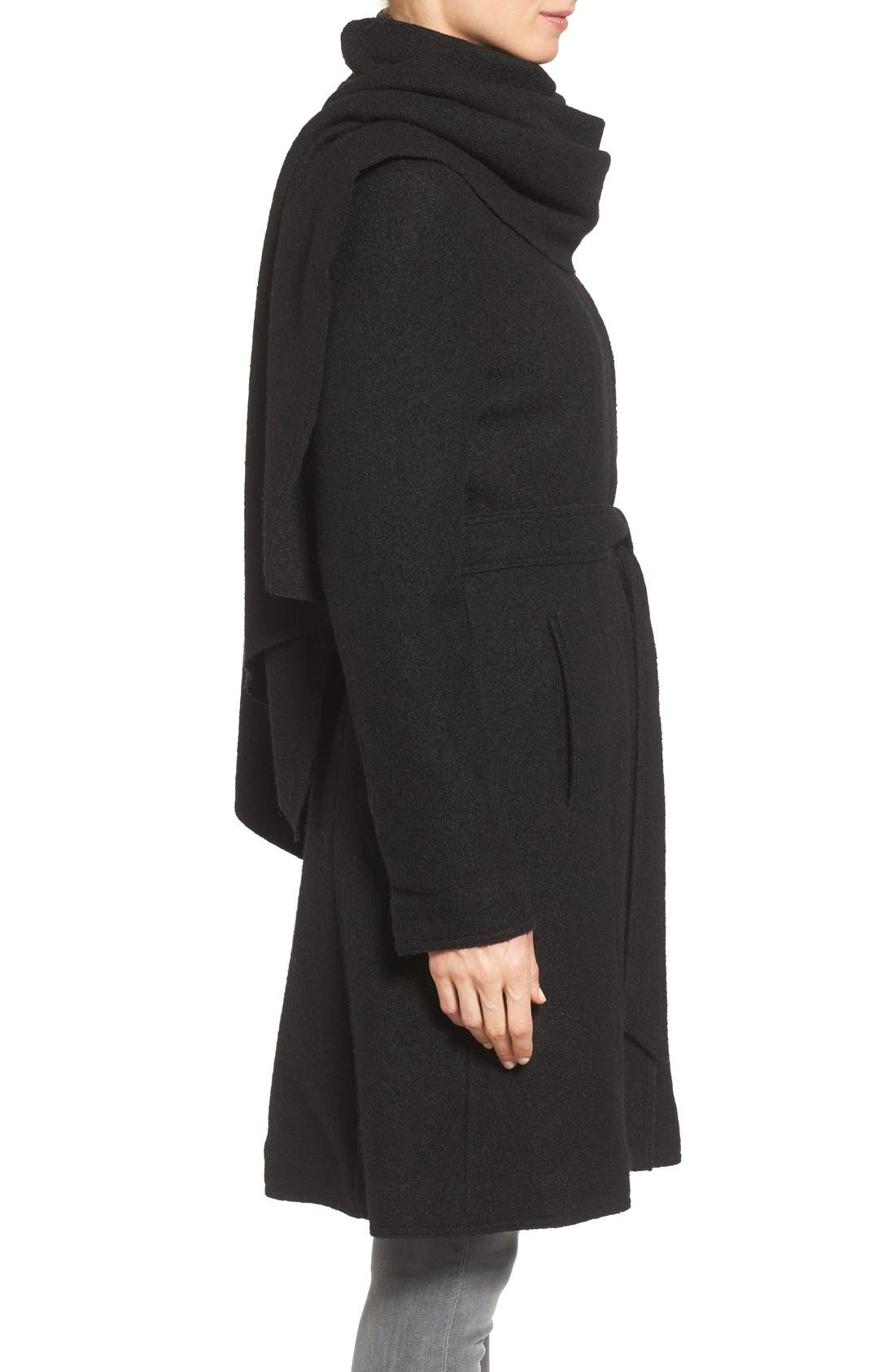 Belted Scarf Front Coat,                             Alternate thumbnail 7, color,