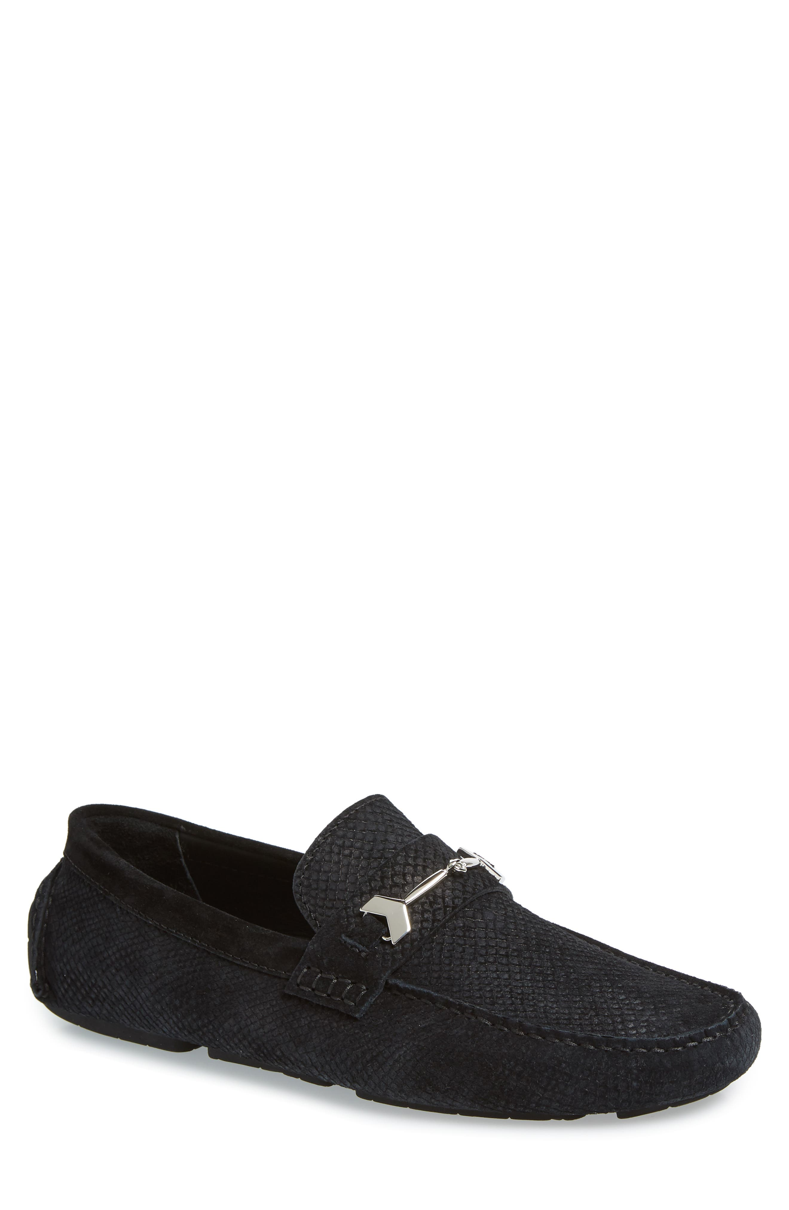 Brewer Croc Textured Driving Loafer,                             Main thumbnail 1, color,                             BLACK/BLACK