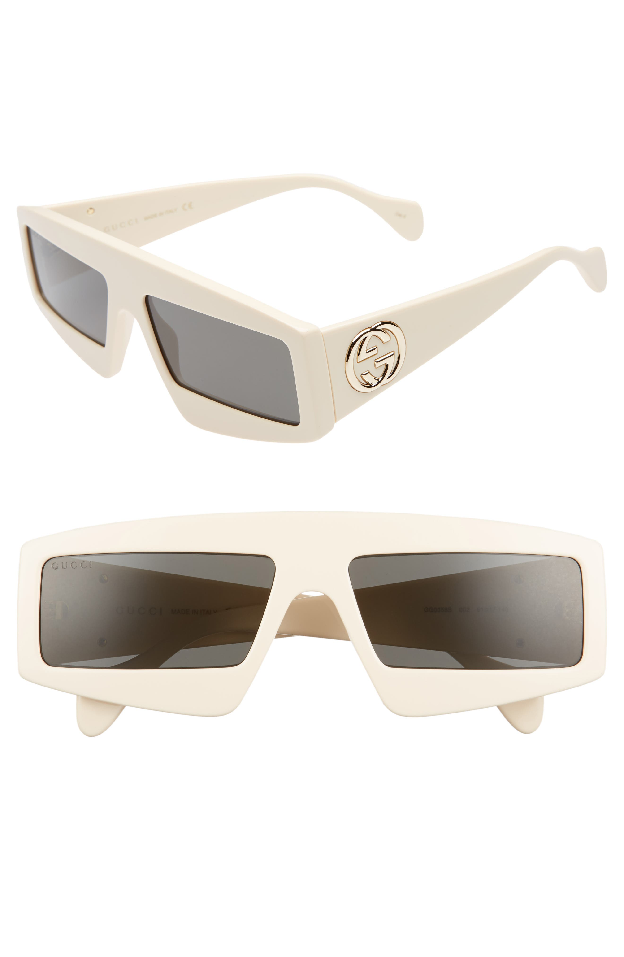 61mm Shield Sunglasses, Main, color, IVORY