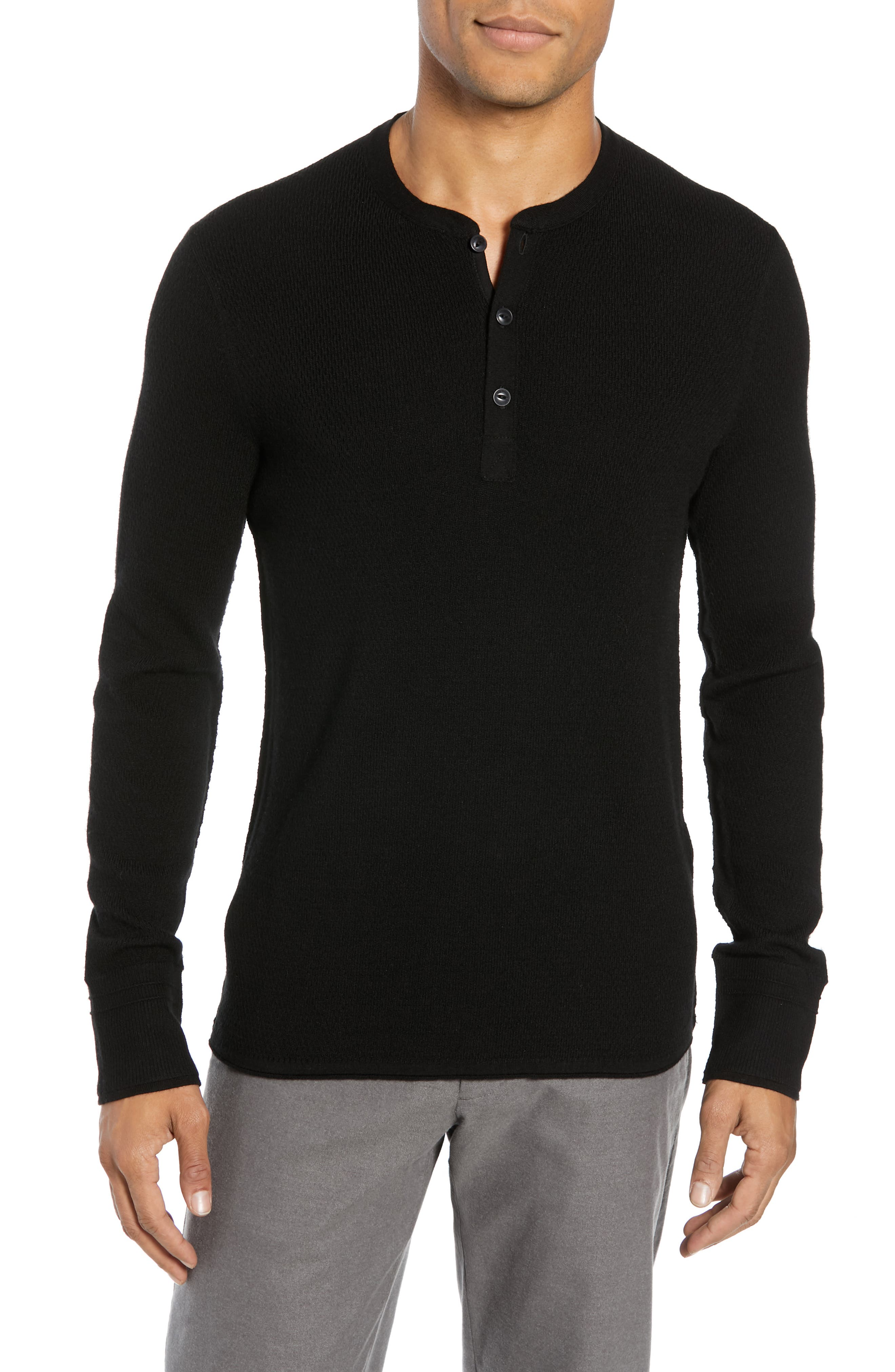 Gregory Merino Wool Blend Thermal Henley,                             Main thumbnail 1, color,                             BLACK