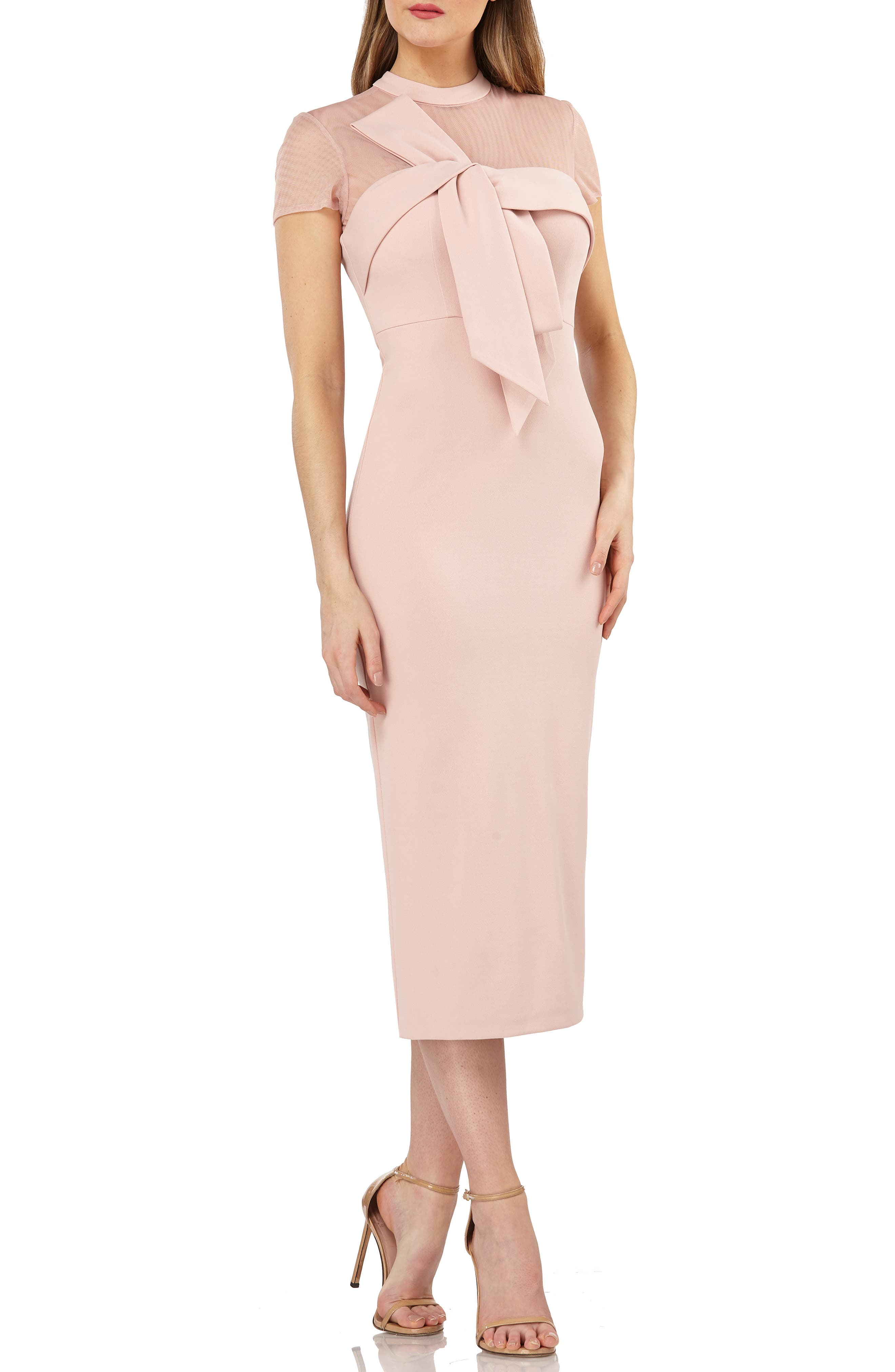 1950s Cocktail Dresses, Party Dresses Womens Js Collections Stretch Crepe Midi Dress Size 2 - Pink $178.00 AT vintagedancer.com