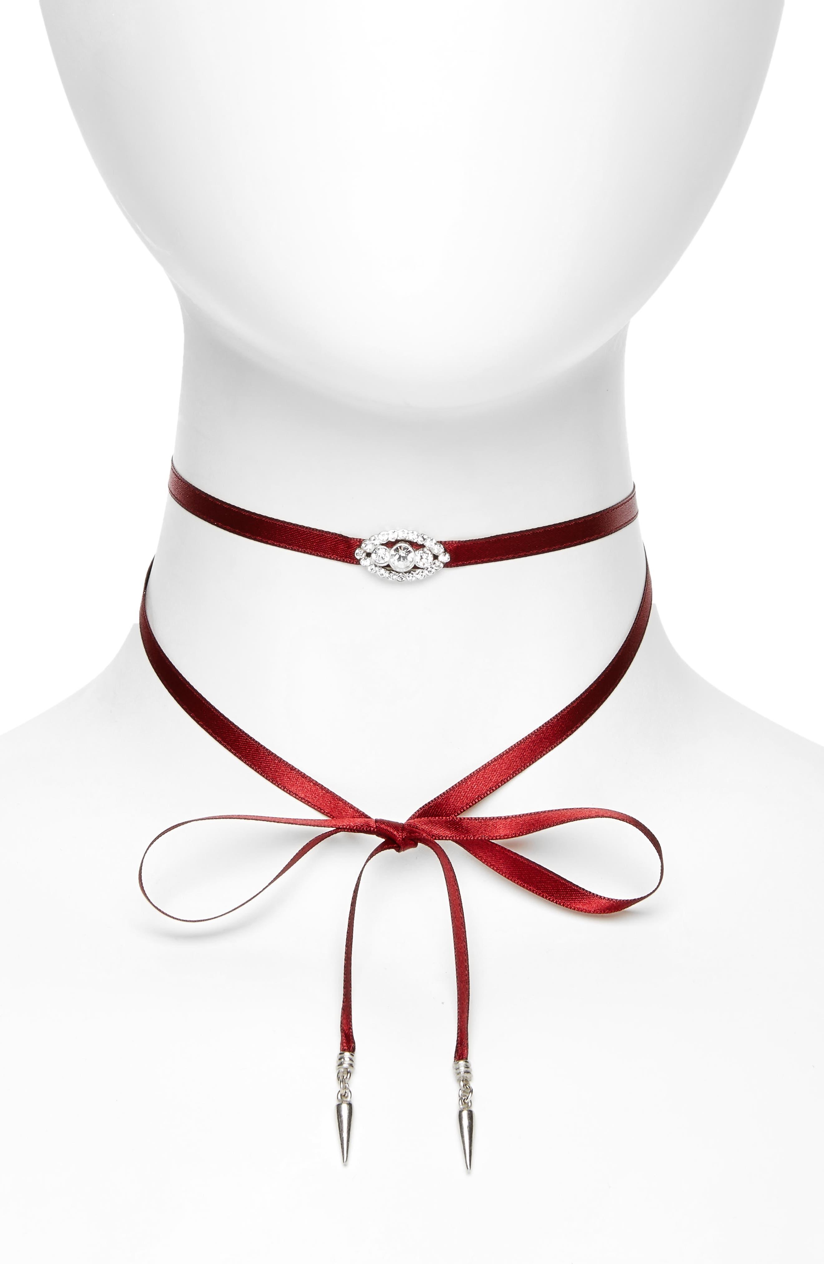 Wrap Choker Necklace,                             Main thumbnail 1, color,                             BURGUNDY / SILVER