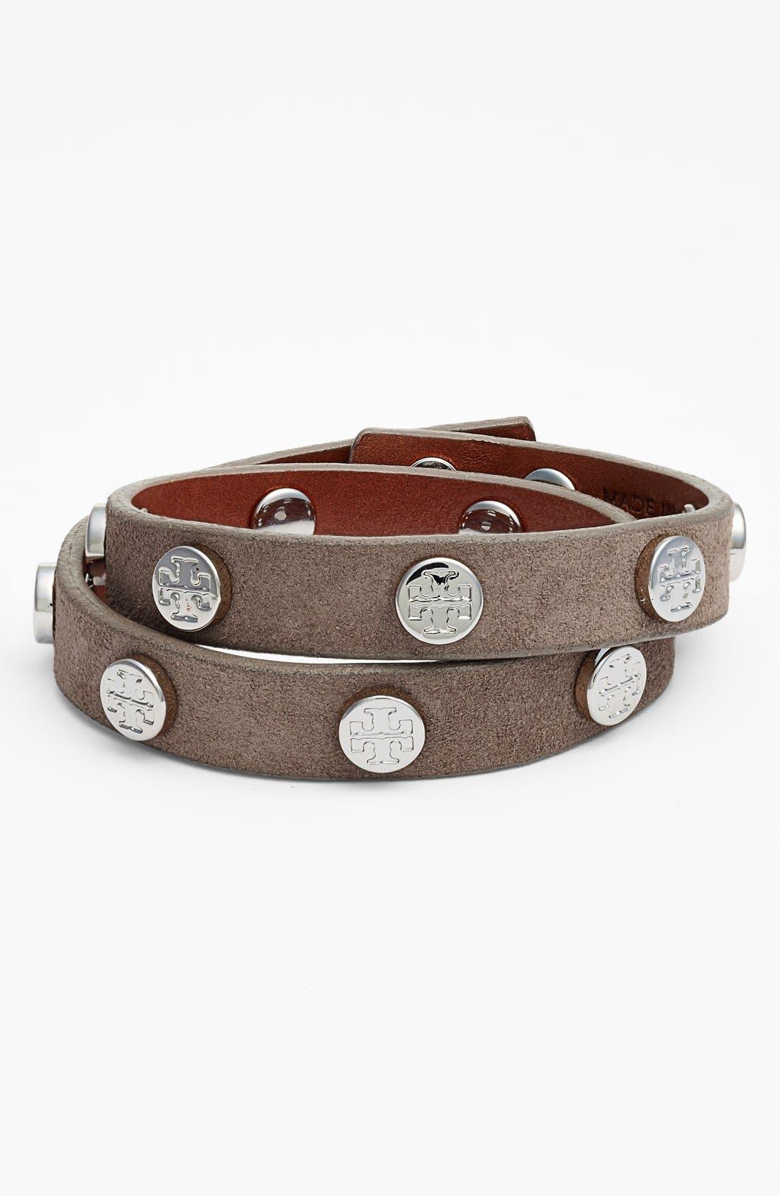 TORY BURCH,                             Logo Leather Wrap Bracelet,                             Main thumbnail 1, color,                             200