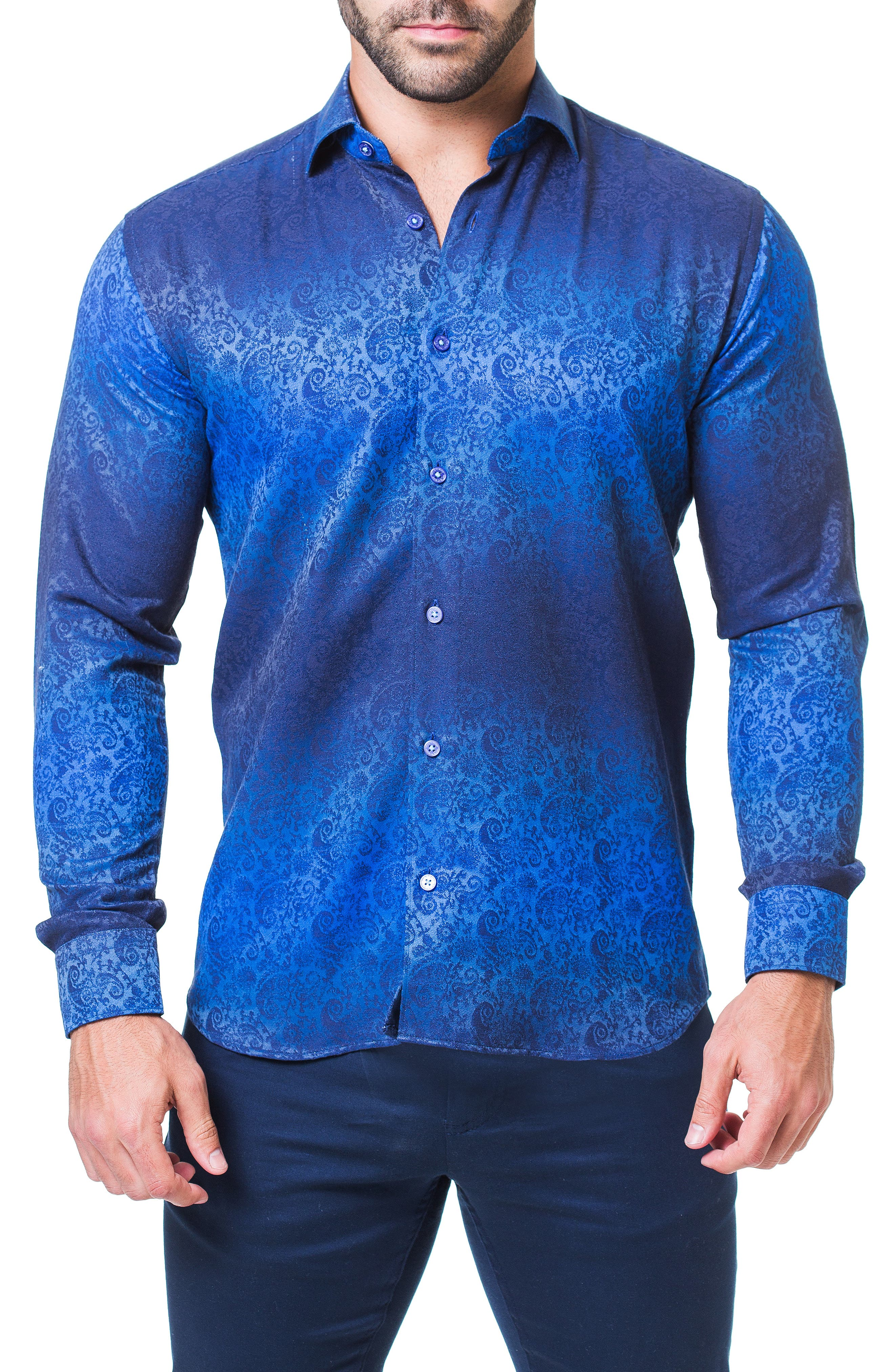 Fibonacci Paisley Trim Fit Sport Shirt,                         Main,                         color, BLUE