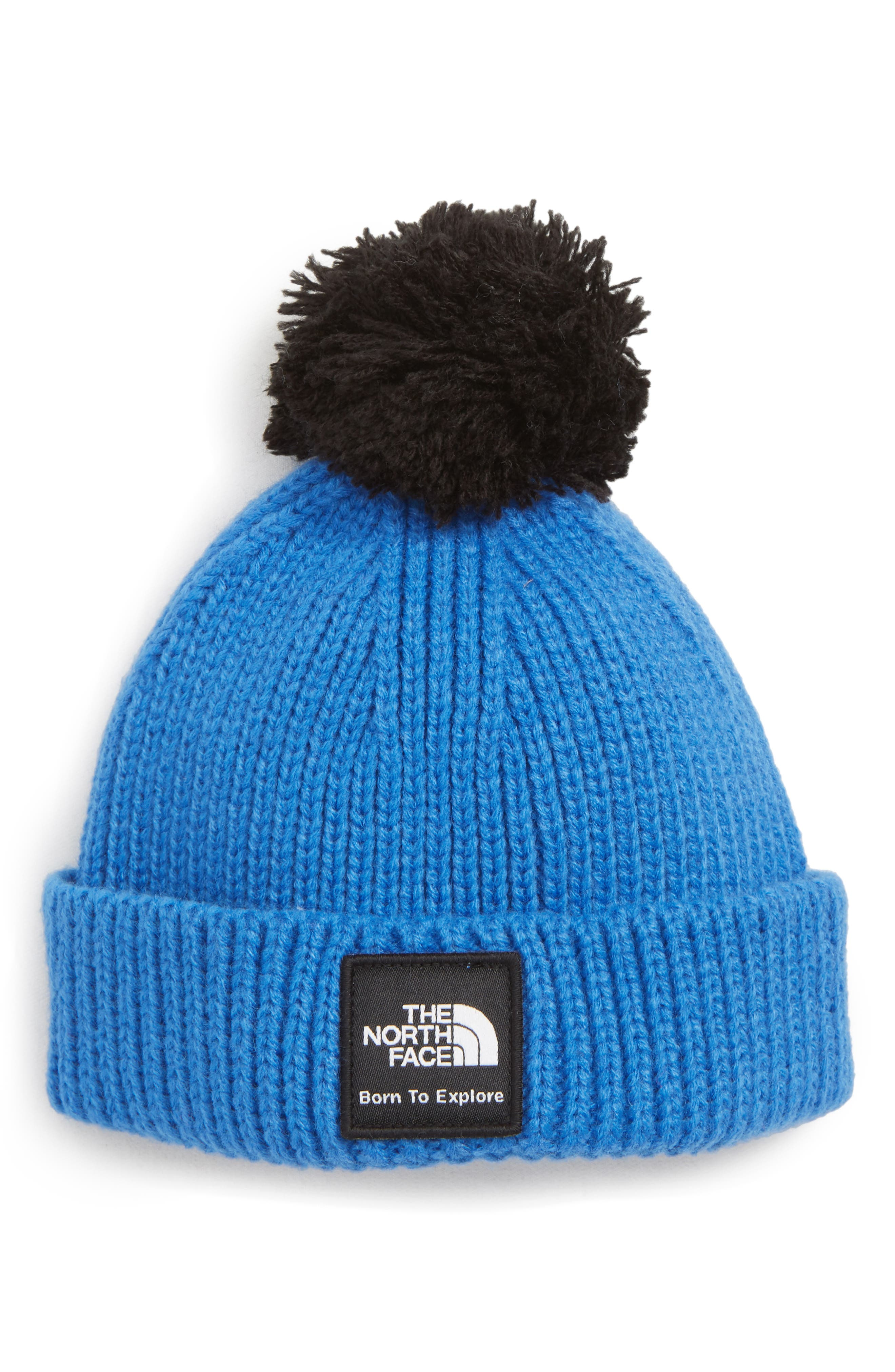 Box Logo Pom Beanie,                         Main,                         color, TURKISH SEA/ TNF BLACK