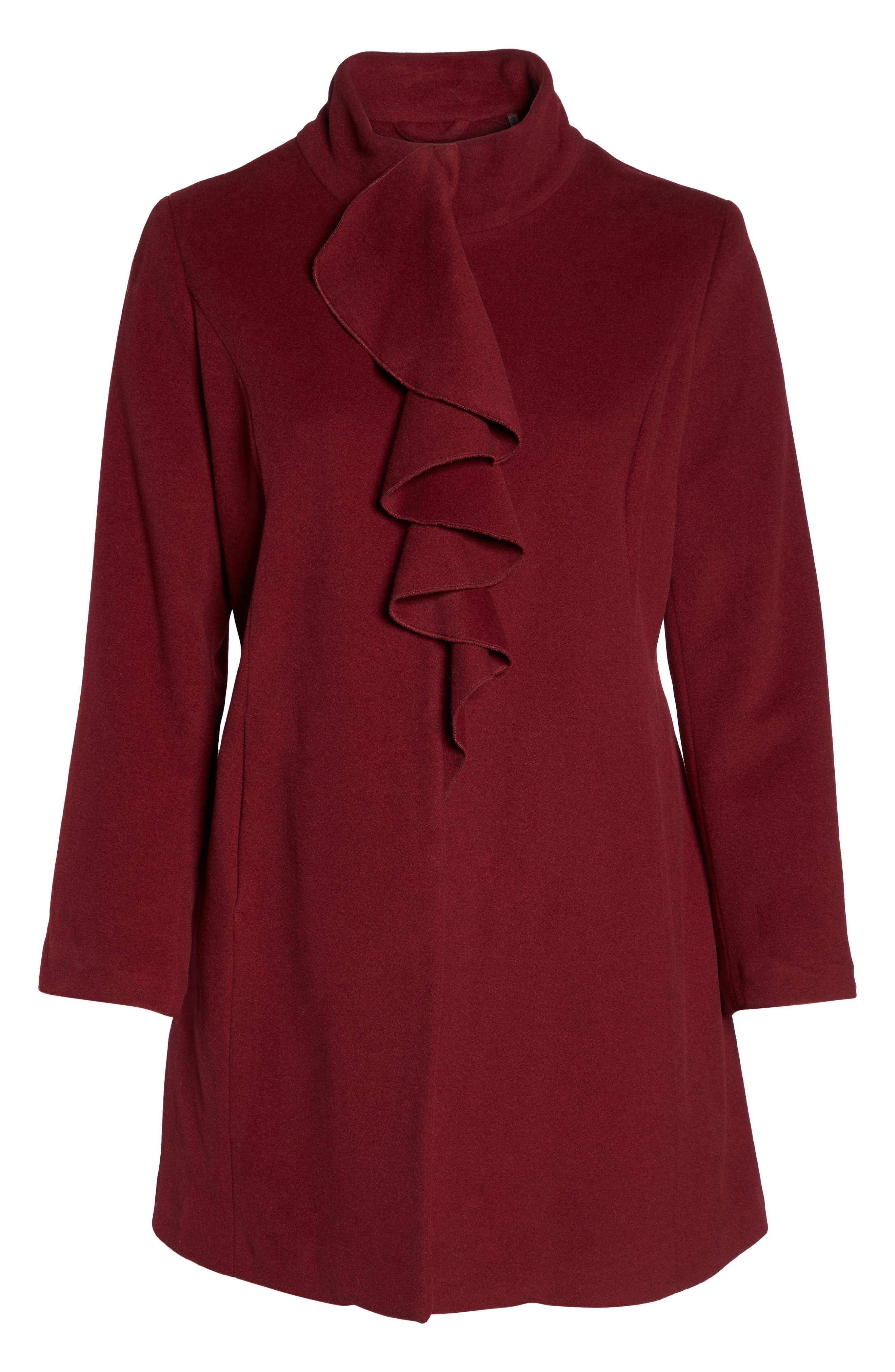 Kate Ruffle Wool Blend Coat,                             Alternate thumbnail 16, color,