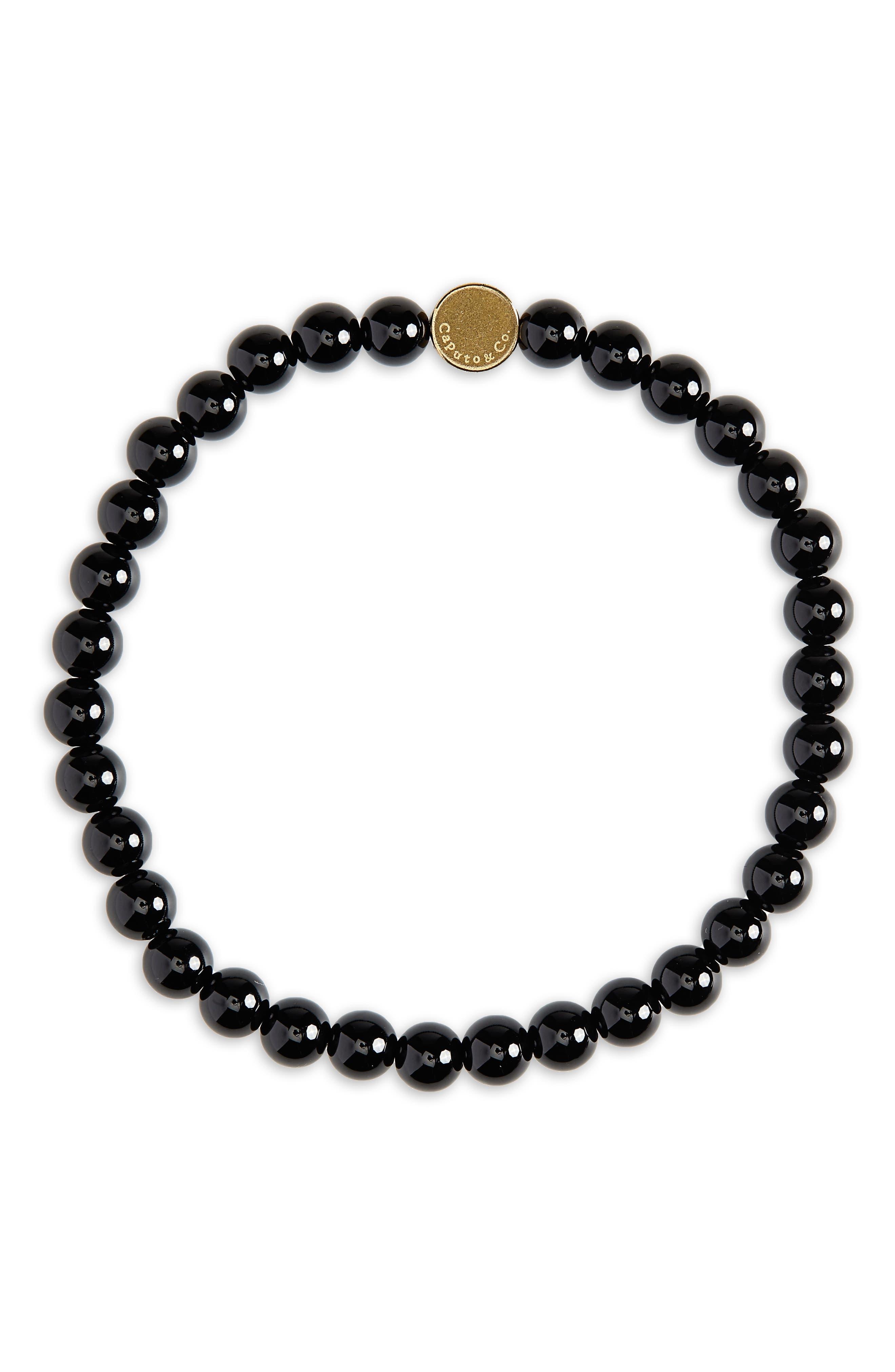 CAPUTO & CO. Stone Bead Bracelet in Black Onyx