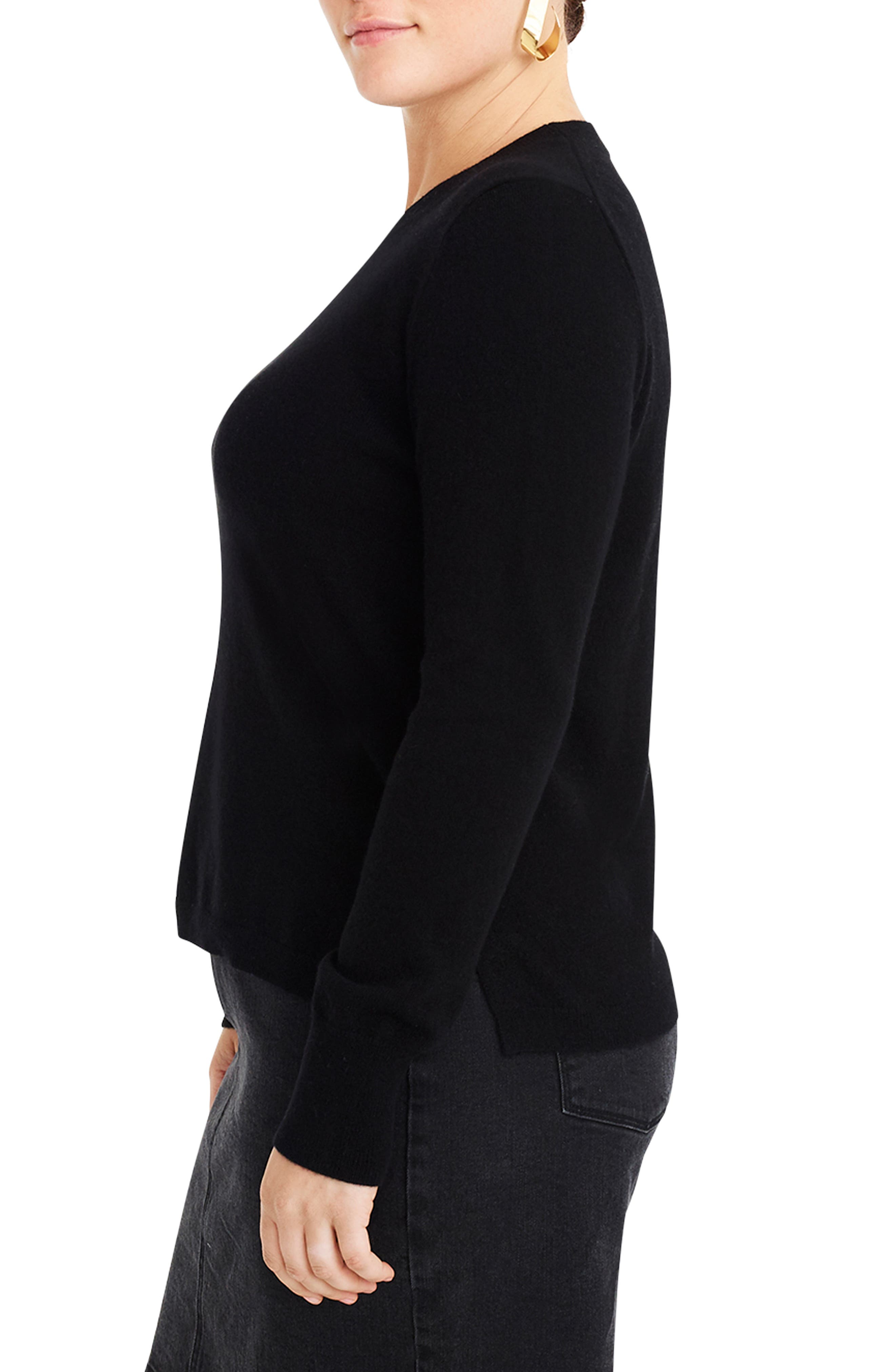 J.CREW,                             Crewneck Cashmere Sweater,                             Alternate thumbnail 5, color,                             BLACK