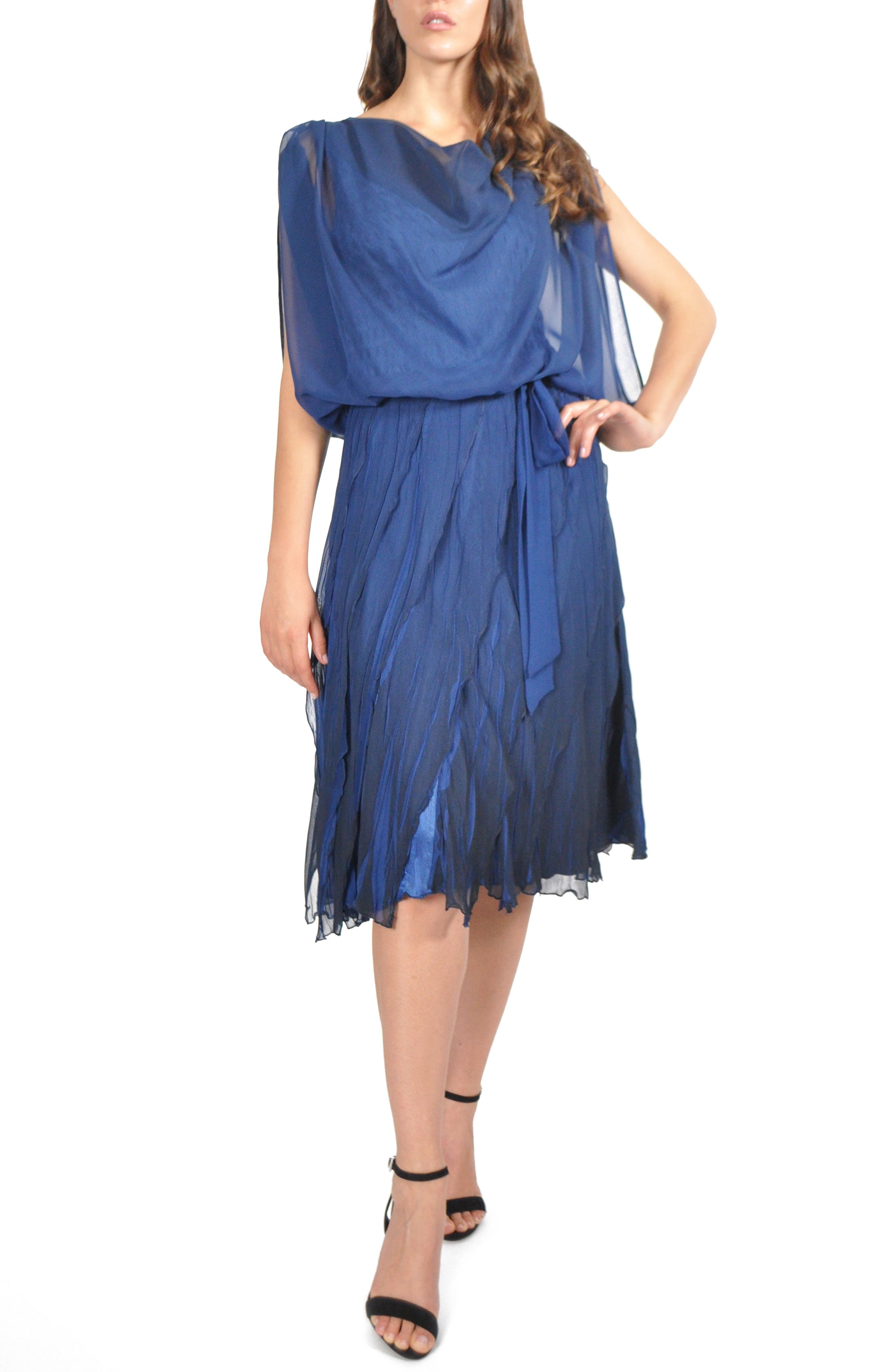 Blouson Tiered Dress, Main, color, NAVY BLACK OMBRE
