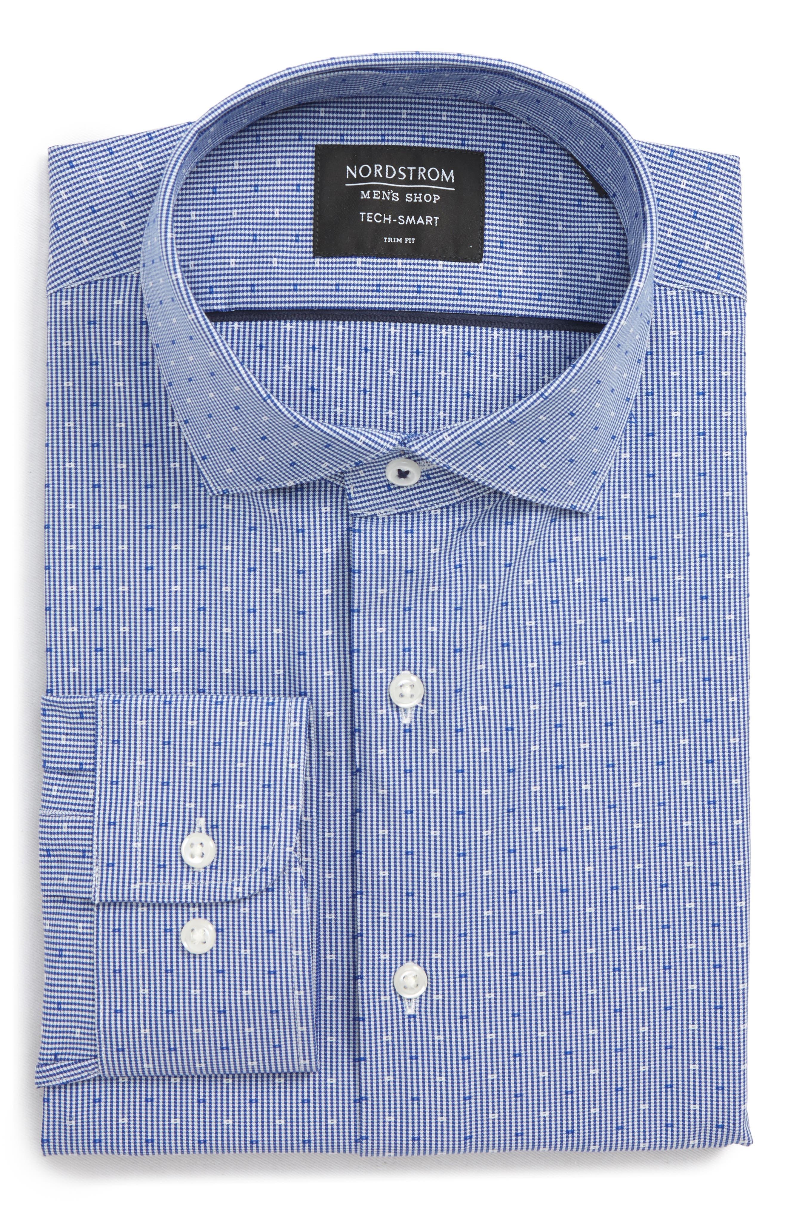 Tech-Smart Trim Fit Check Dress Shirt,                             Alternate thumbnail 5, color,