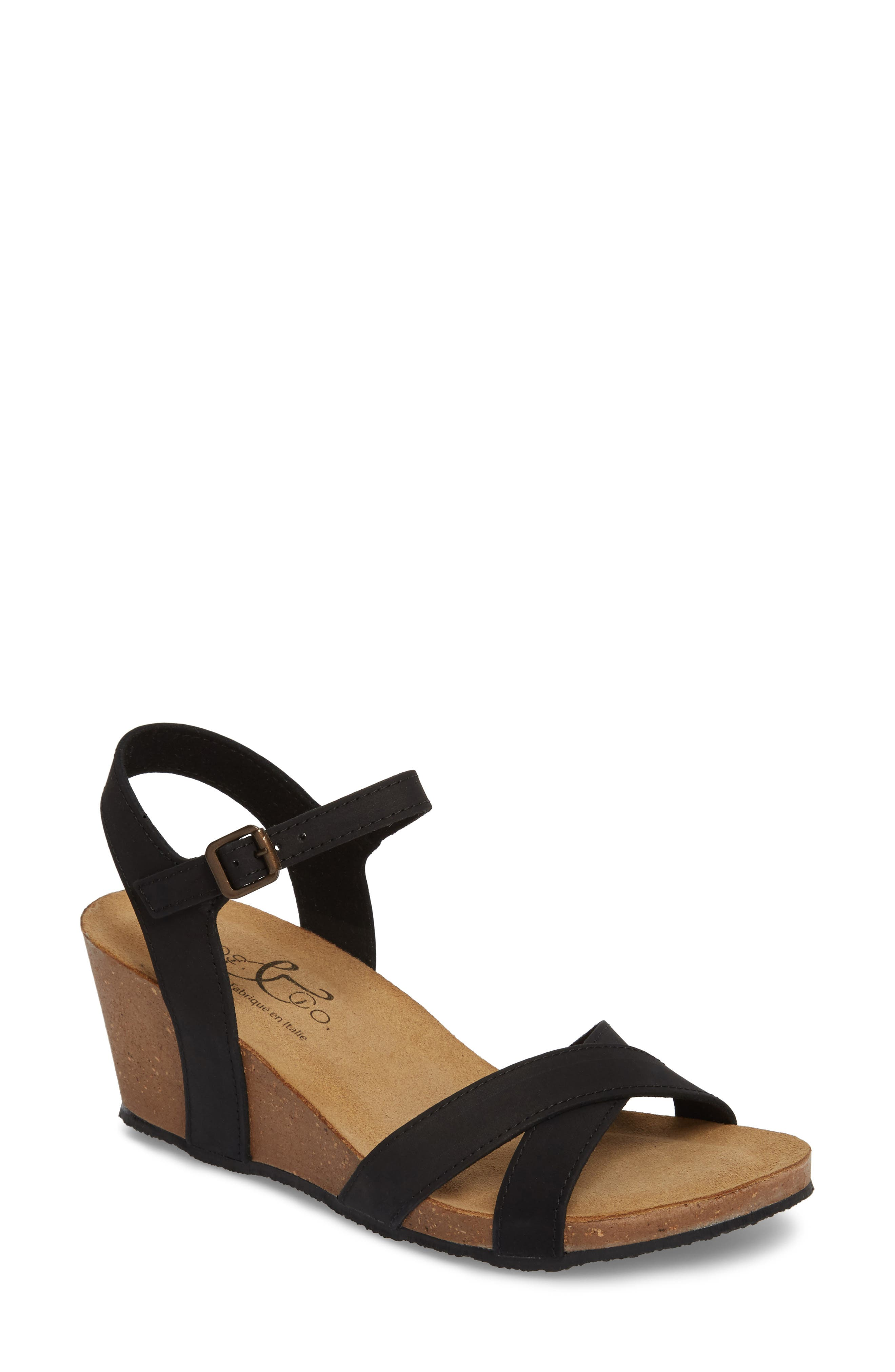 Bos. & Co. Lucca Wedge Sandal, Black