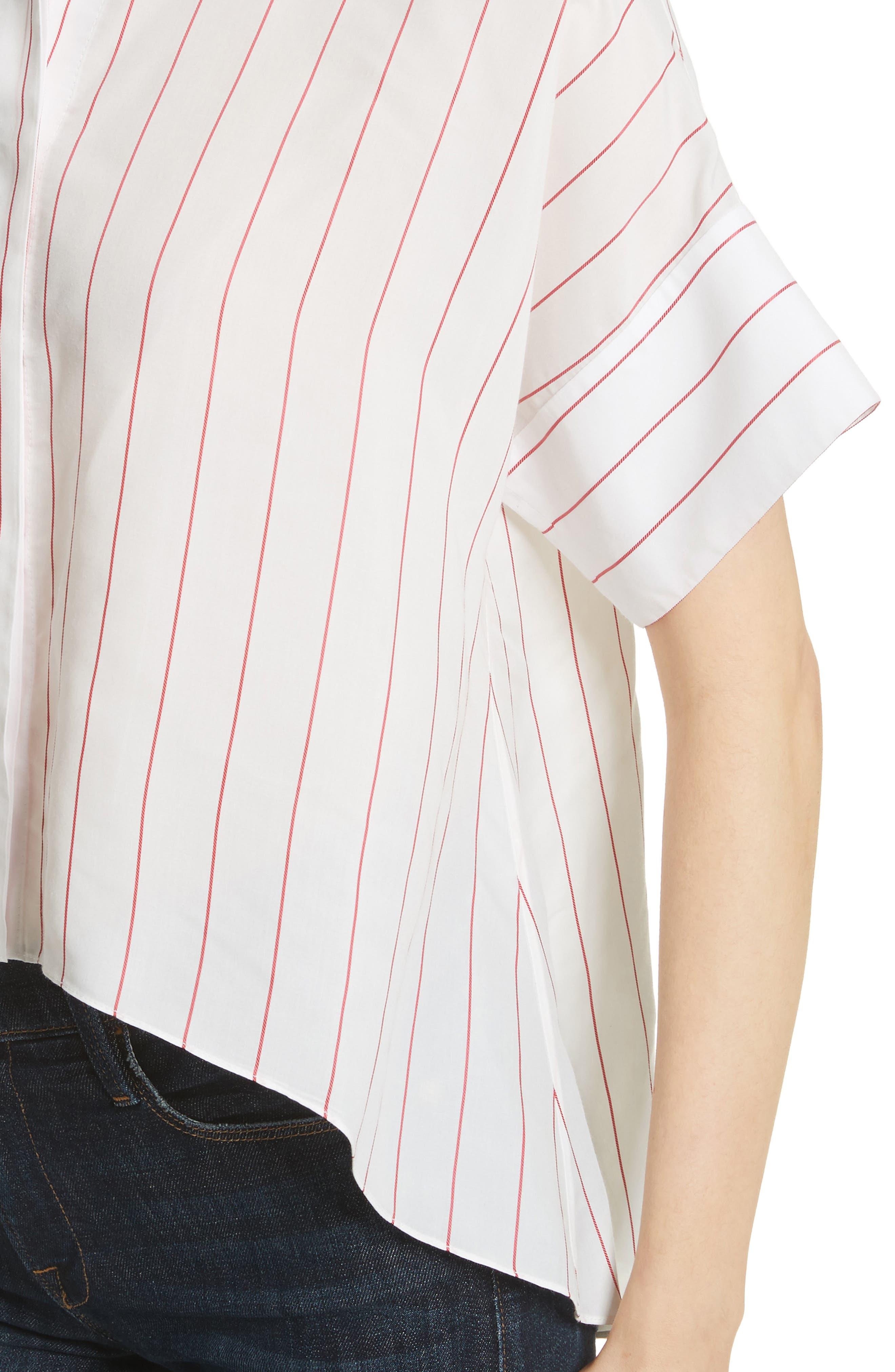 Edyth High/Low Button Down Shirt,                             Alternate thumbnail 4, color,                             134