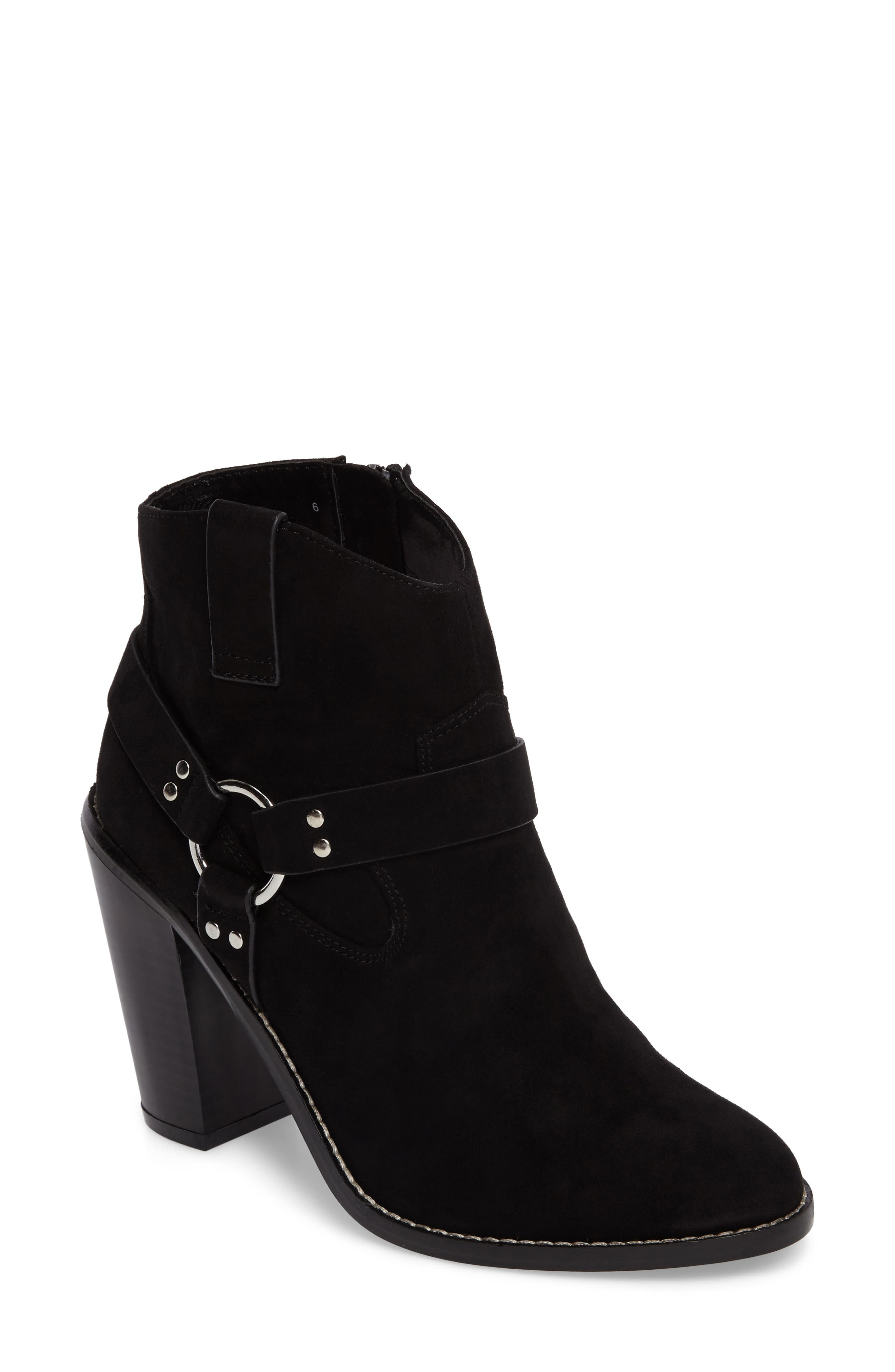 Fancye Ringed Ankle Strap Bootie,                             Main thumbnail 1, color,                             BLACK SYNTHETIC